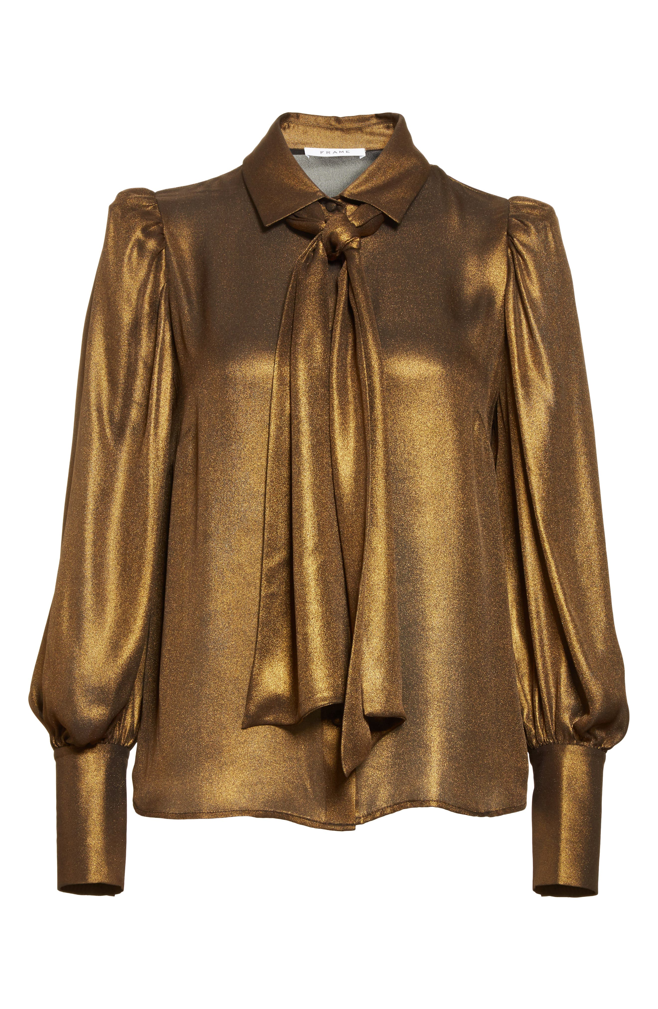 Voluminous Scarf Blouse,                             Alternate thumbnail 8, color,                             Gold