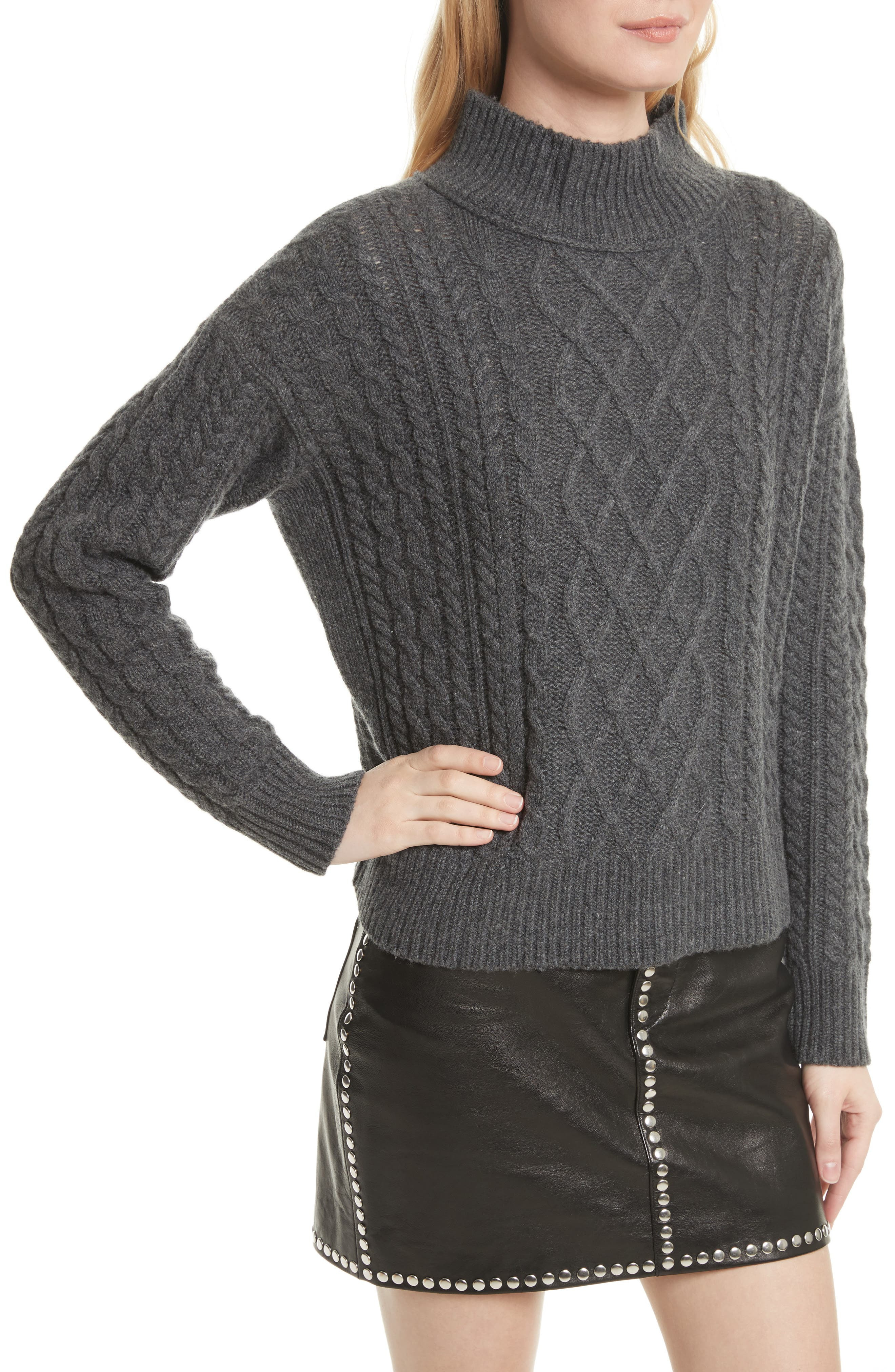 Wool & Cashmere Cable Knit Crop Sweater,                             Alternate thumbnail 5, color,                             Charcoal