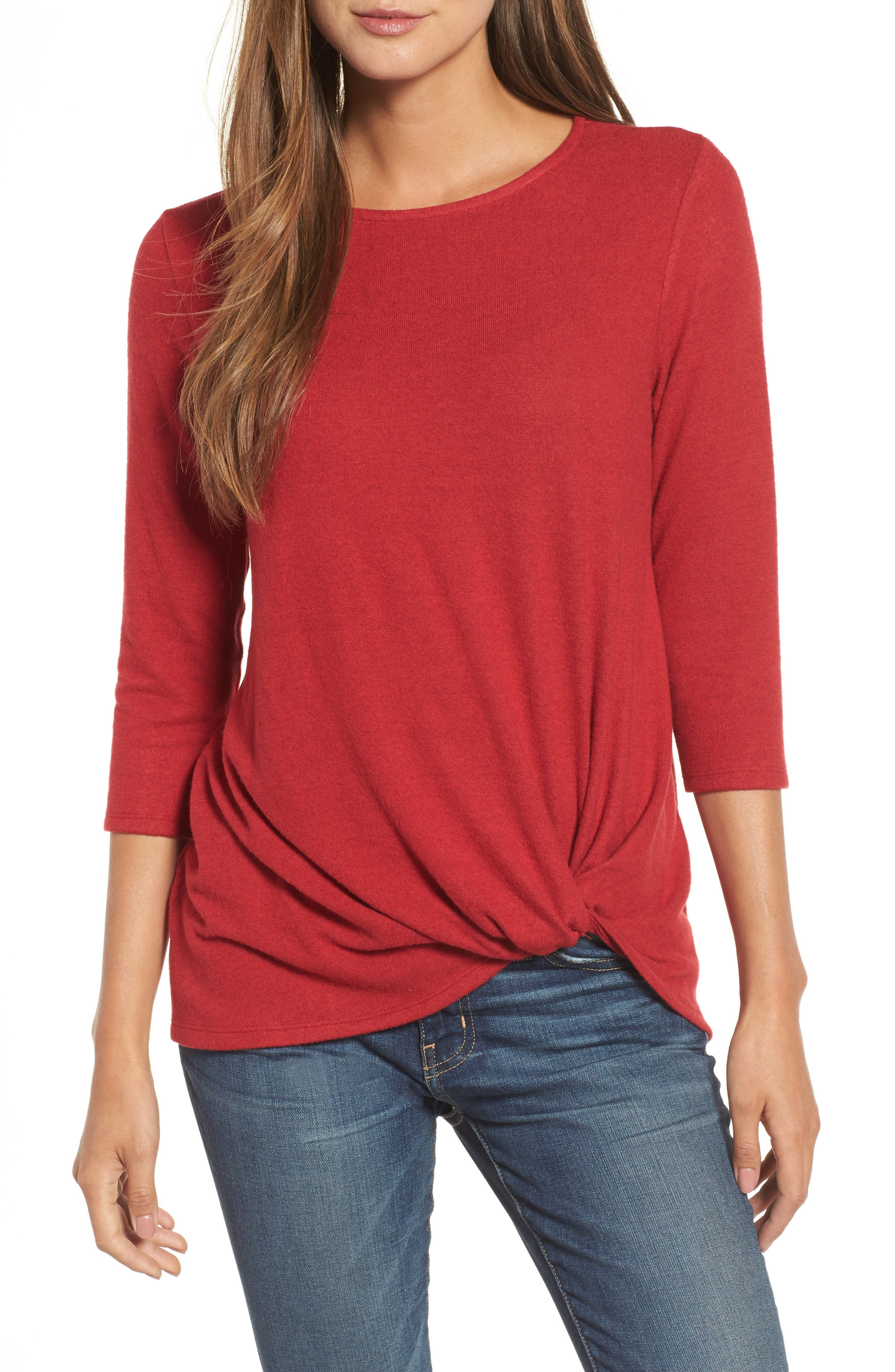 Gibson Twist Front Cozy Fleece Pullover (Regular & Petite)