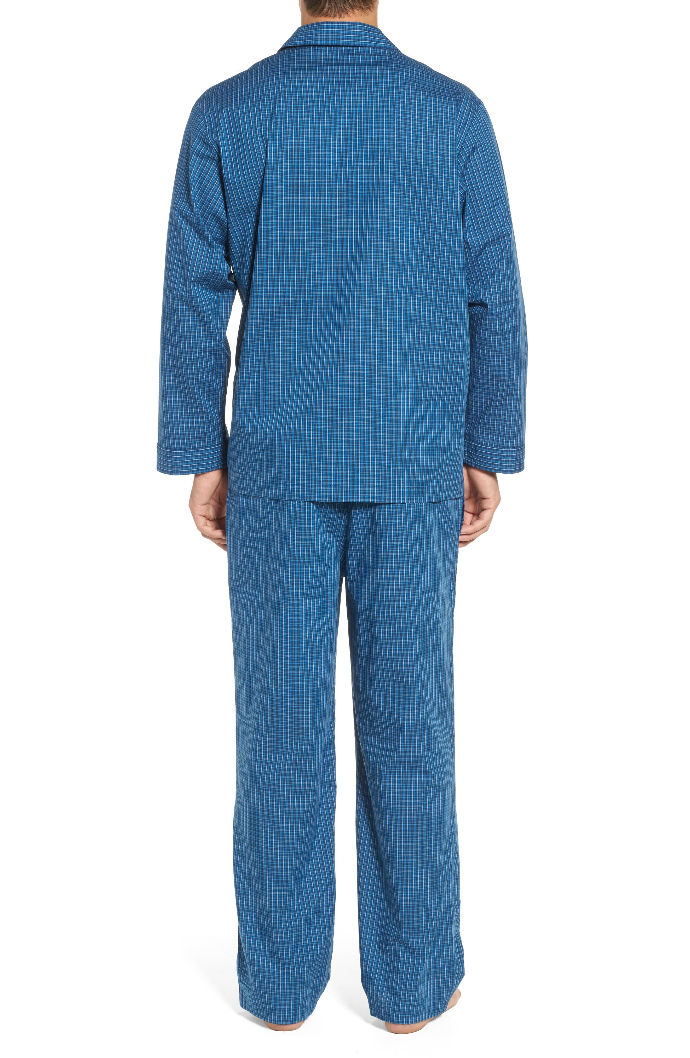 Poplin Pajama Set,                             Alternate thumbnail 2, color,                             Navy Medieval- Blue Plaid