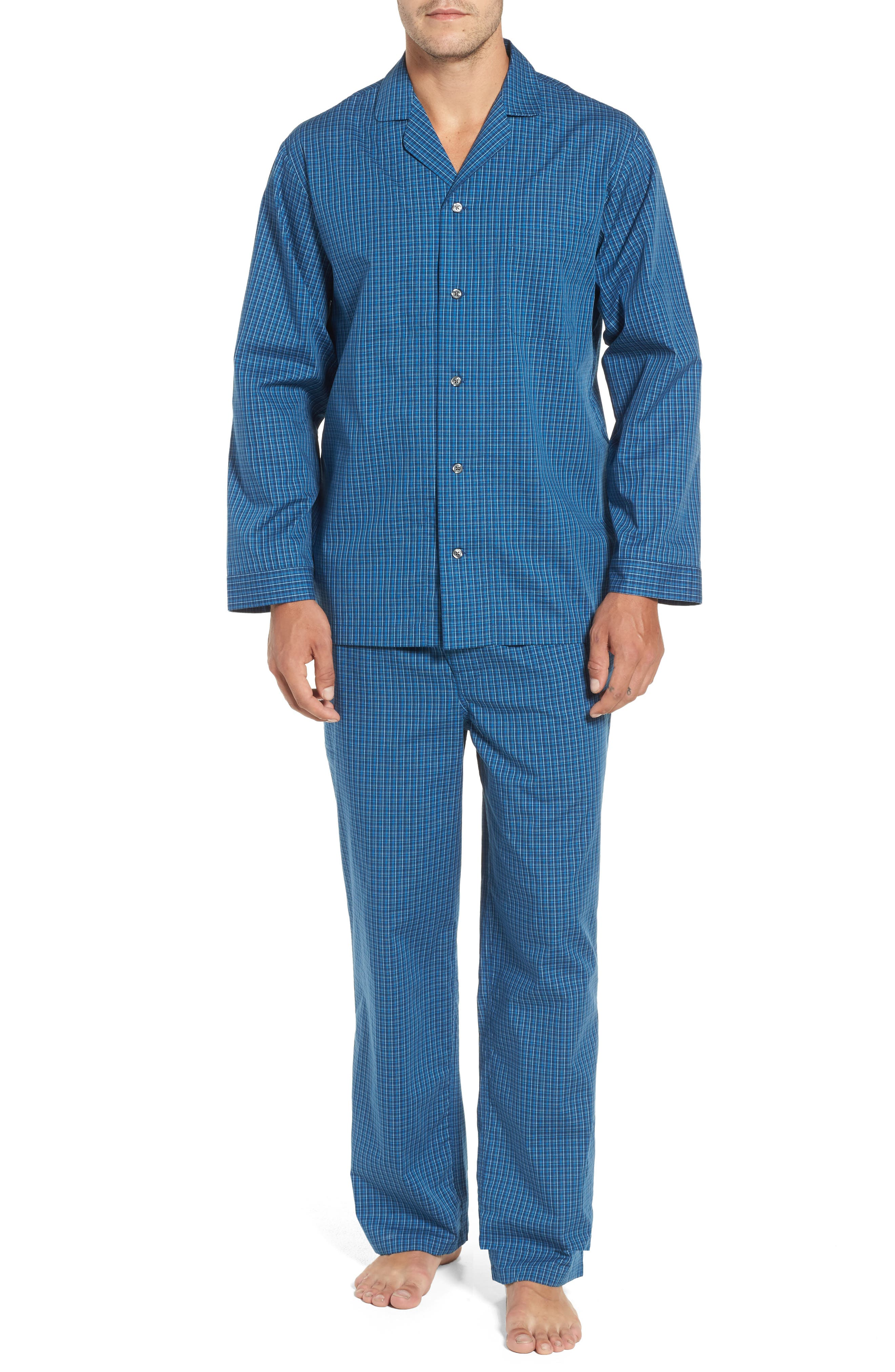 Poplin Pajama Set,                             Main thumbnail 1, color,                             Navy Medieval- Blue Plaid