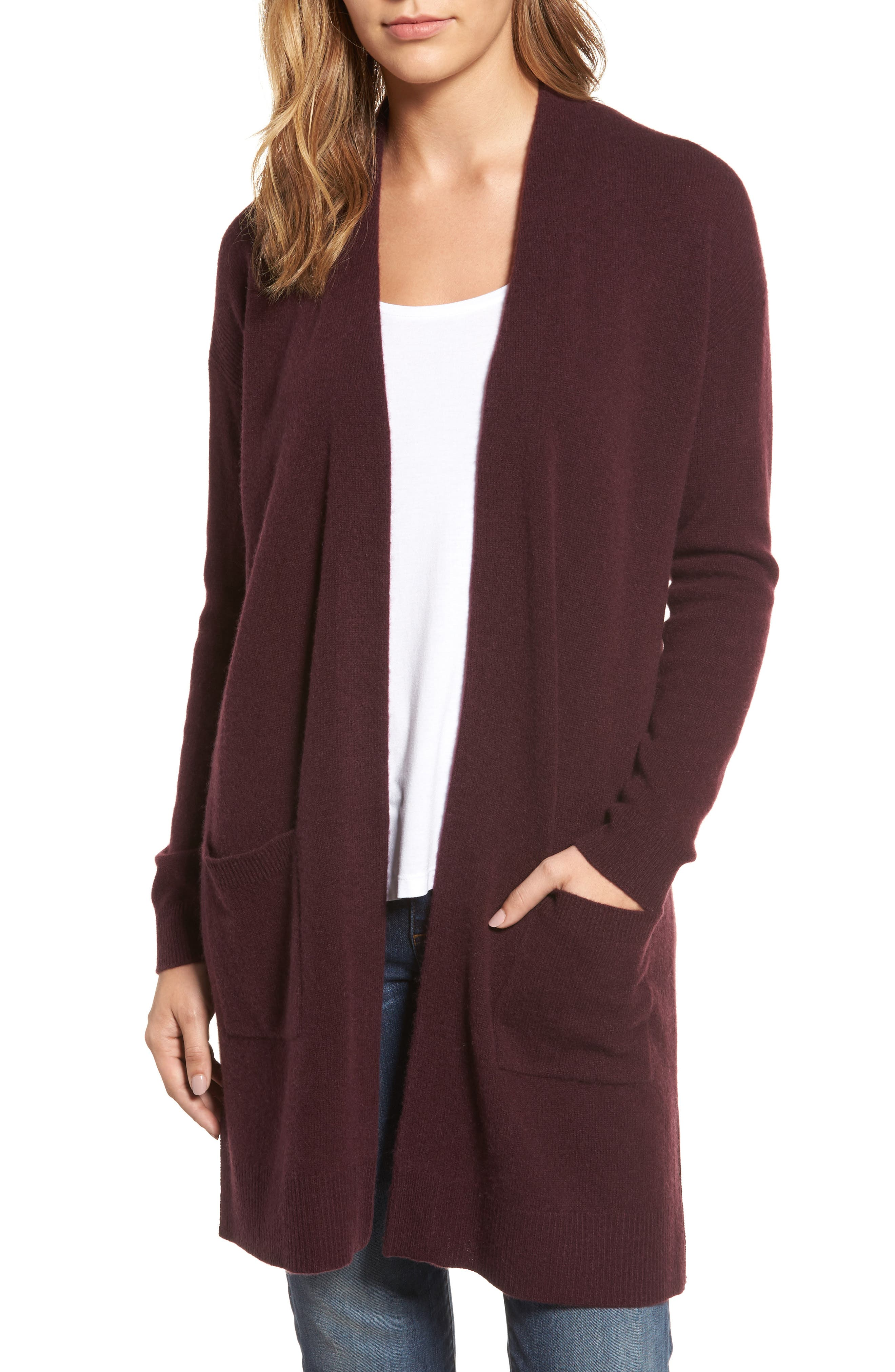 HALOGEN<SUP>®</SUP> Rib Knit Wool & Cashmere Cardigan