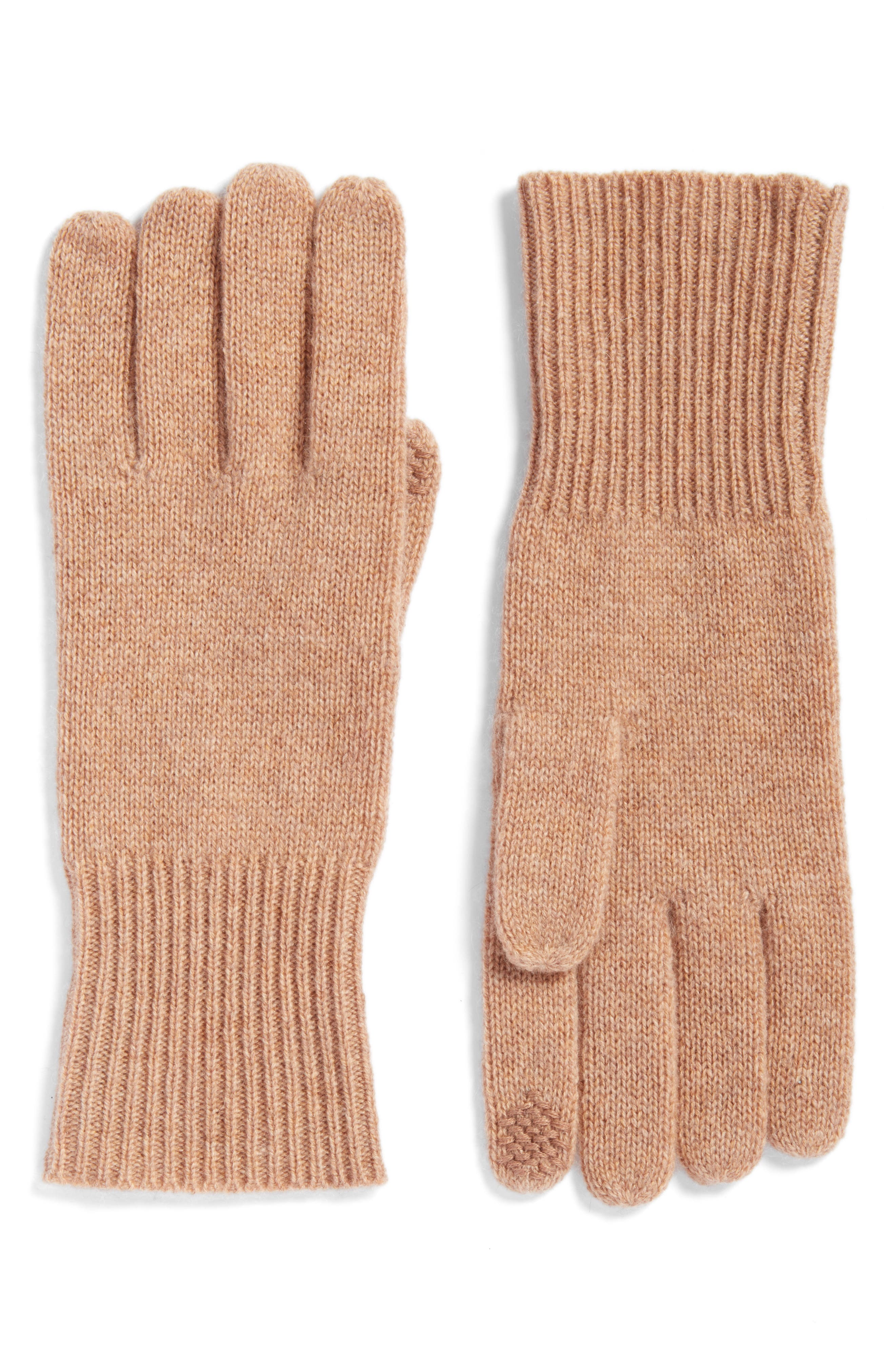 Halogen® Rib Knit Cashmere Gloves
