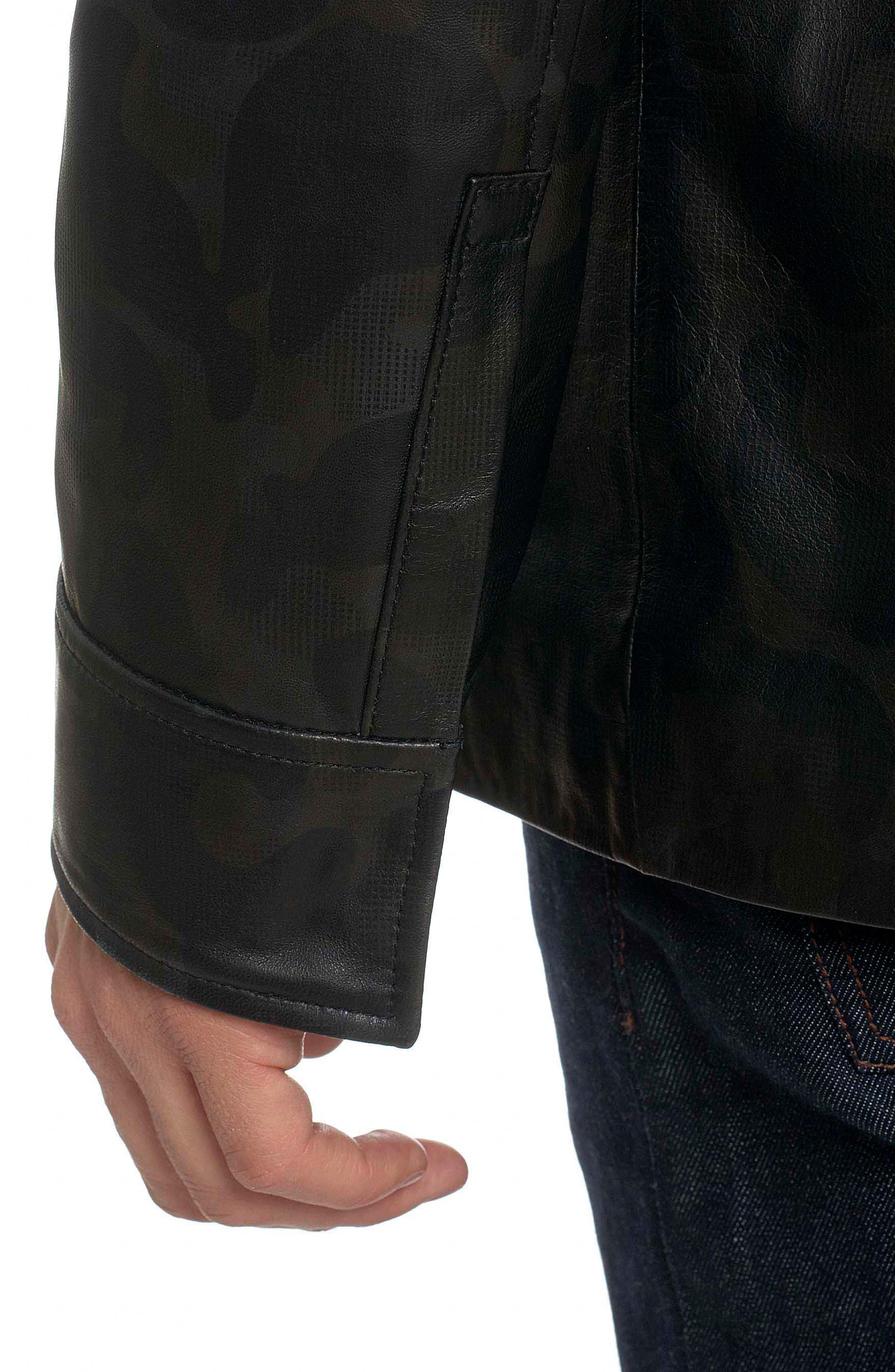 Colden Camo Leather Shirt Jacket,                             Alternate thumbnail 5, color,                             Black