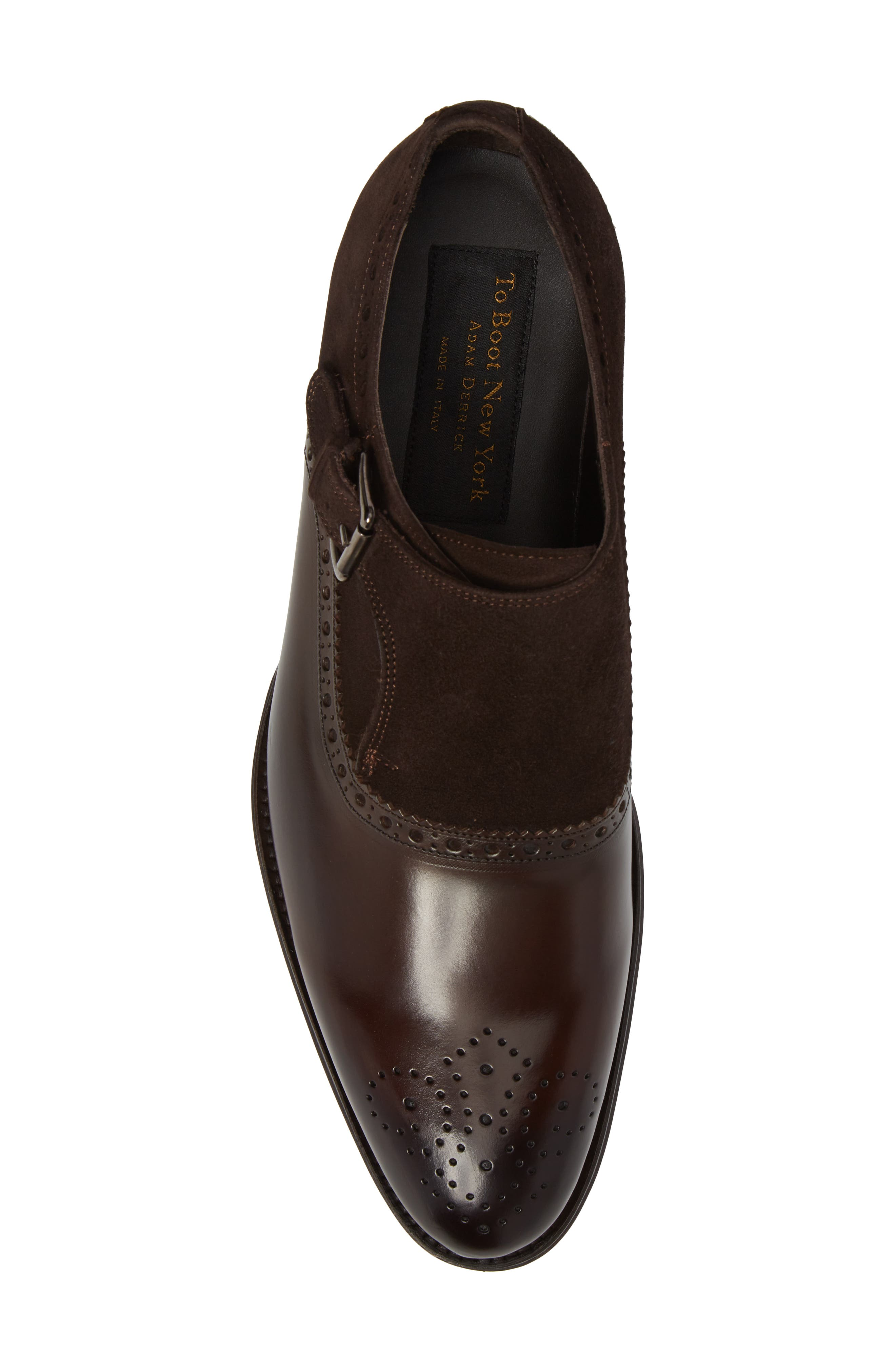 Arcadia Monk Strap Shoe,                             Alternate thumbnail 5, color,                             Brown Leather/ Suede