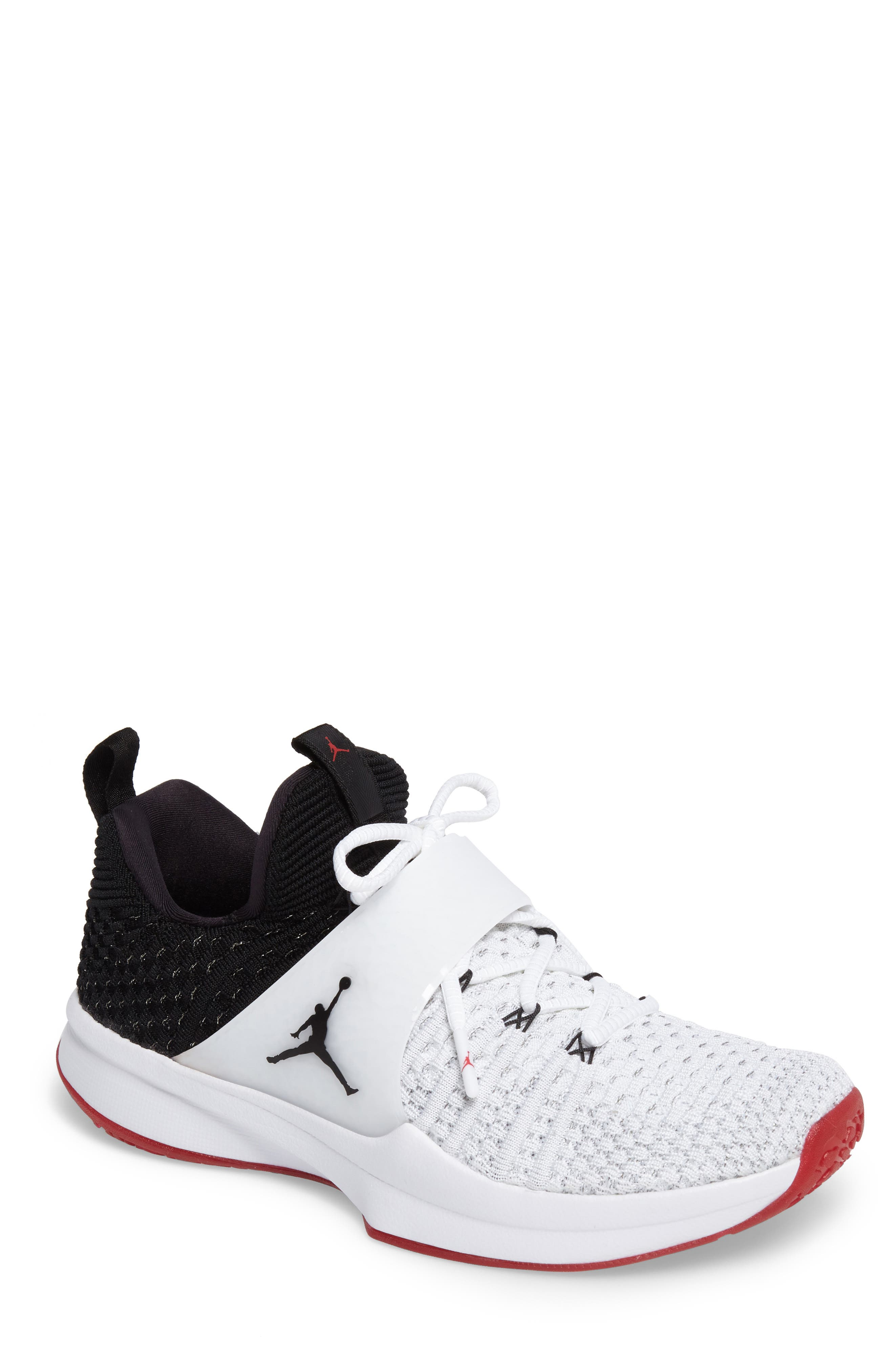 Jordan Flyknit Trainer 2 Low Sneaker,                         Main,                         color, White/ Black/ Black/ Gym Red