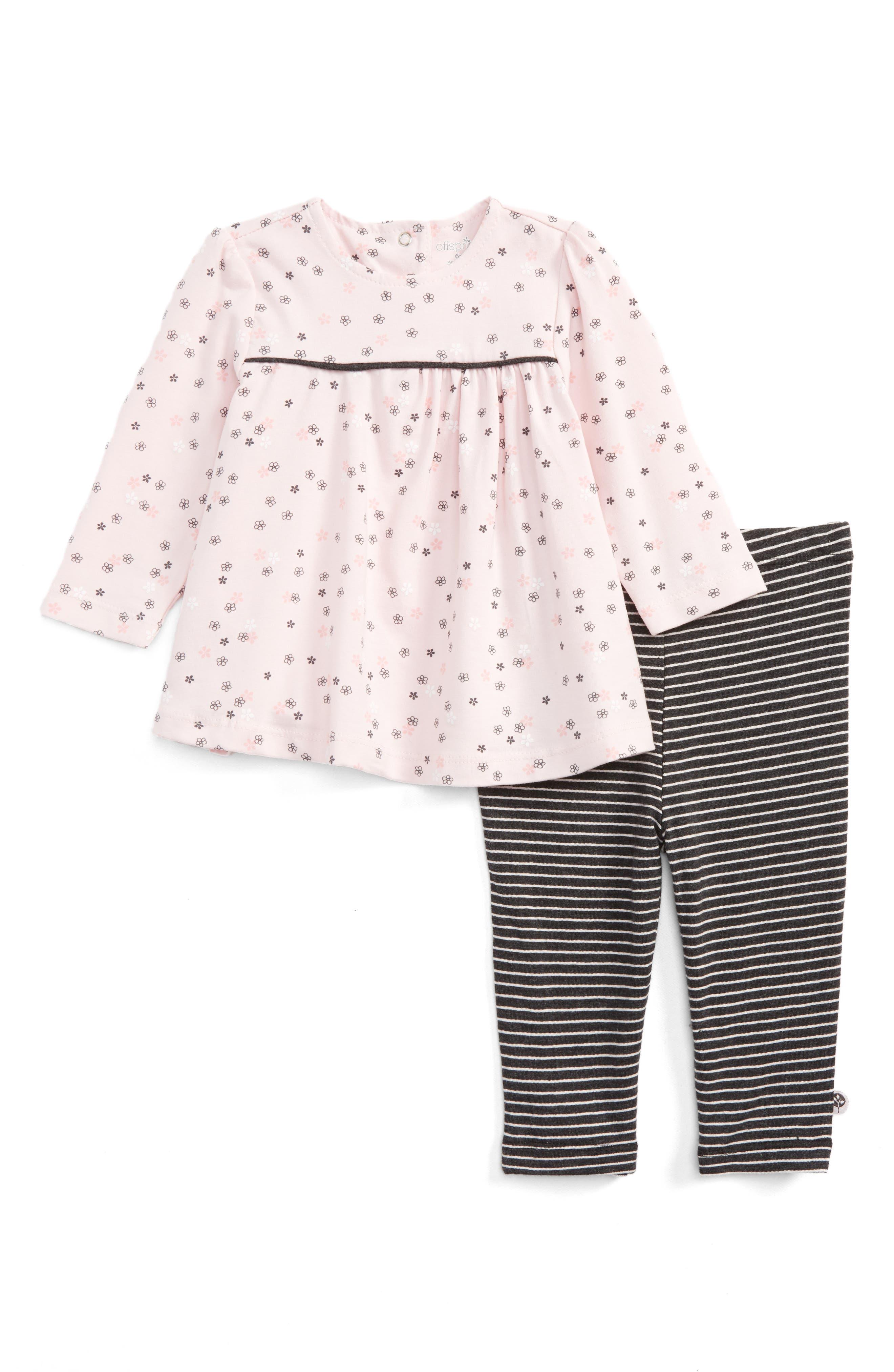 Main Image - Offspring Delicate Blush Tunic & Leggings Set (Baby Girls)