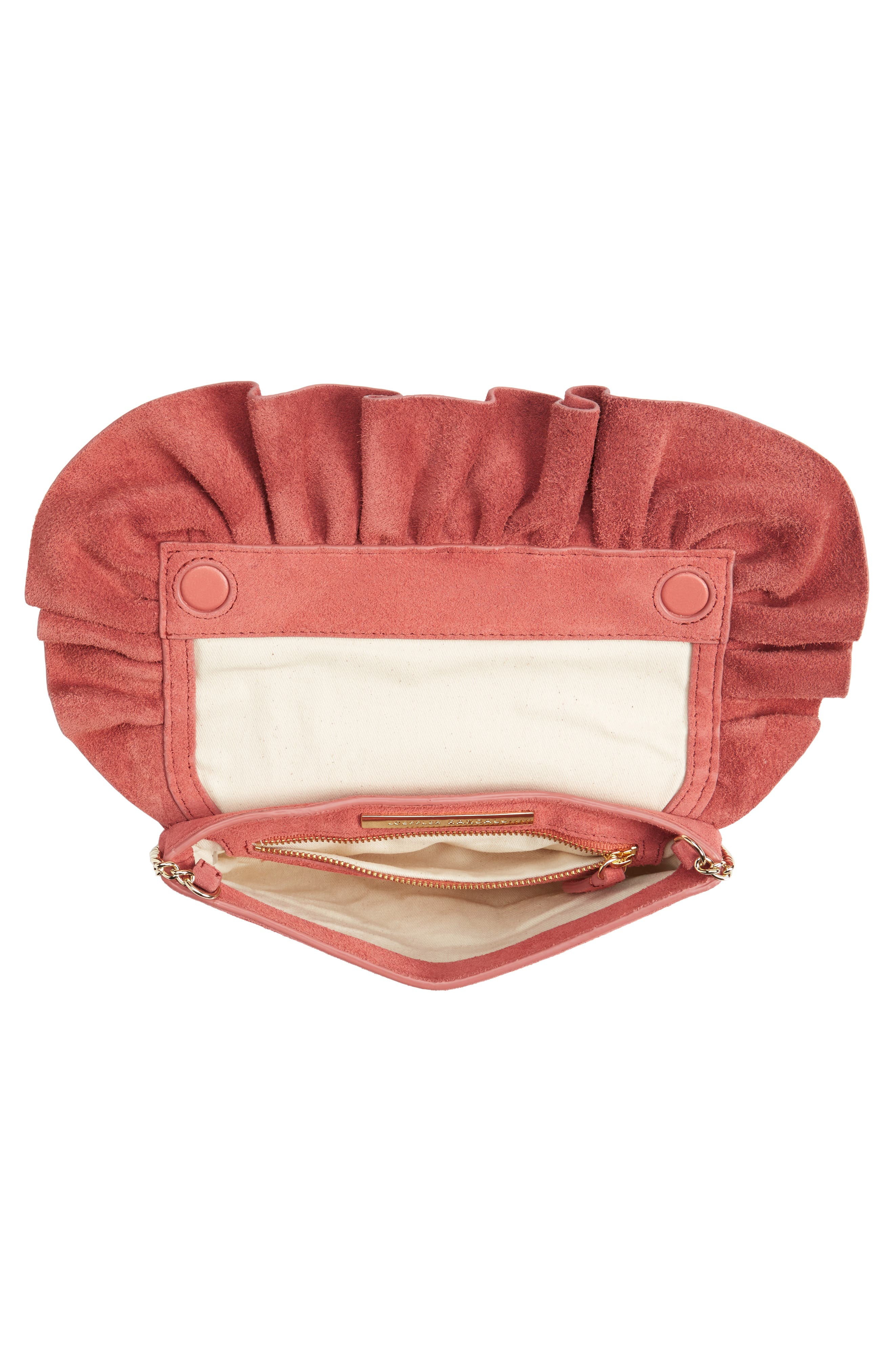 Ruffle Clutch,                             Alternate thumbnail 3, color,                             Dusty Rose