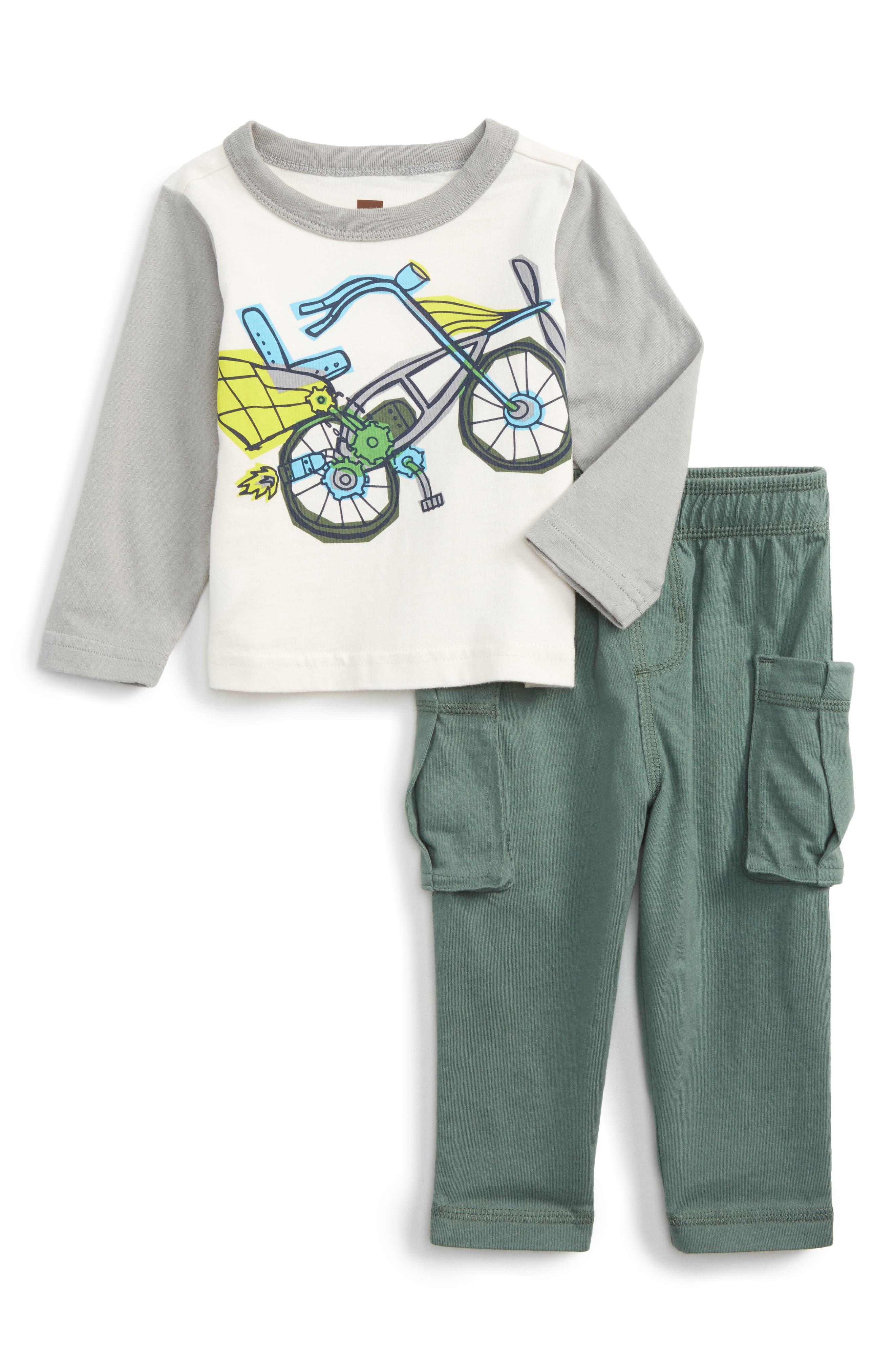Flying Scot T-Shirt & Pants Set,                         Main,                         color, Chalk