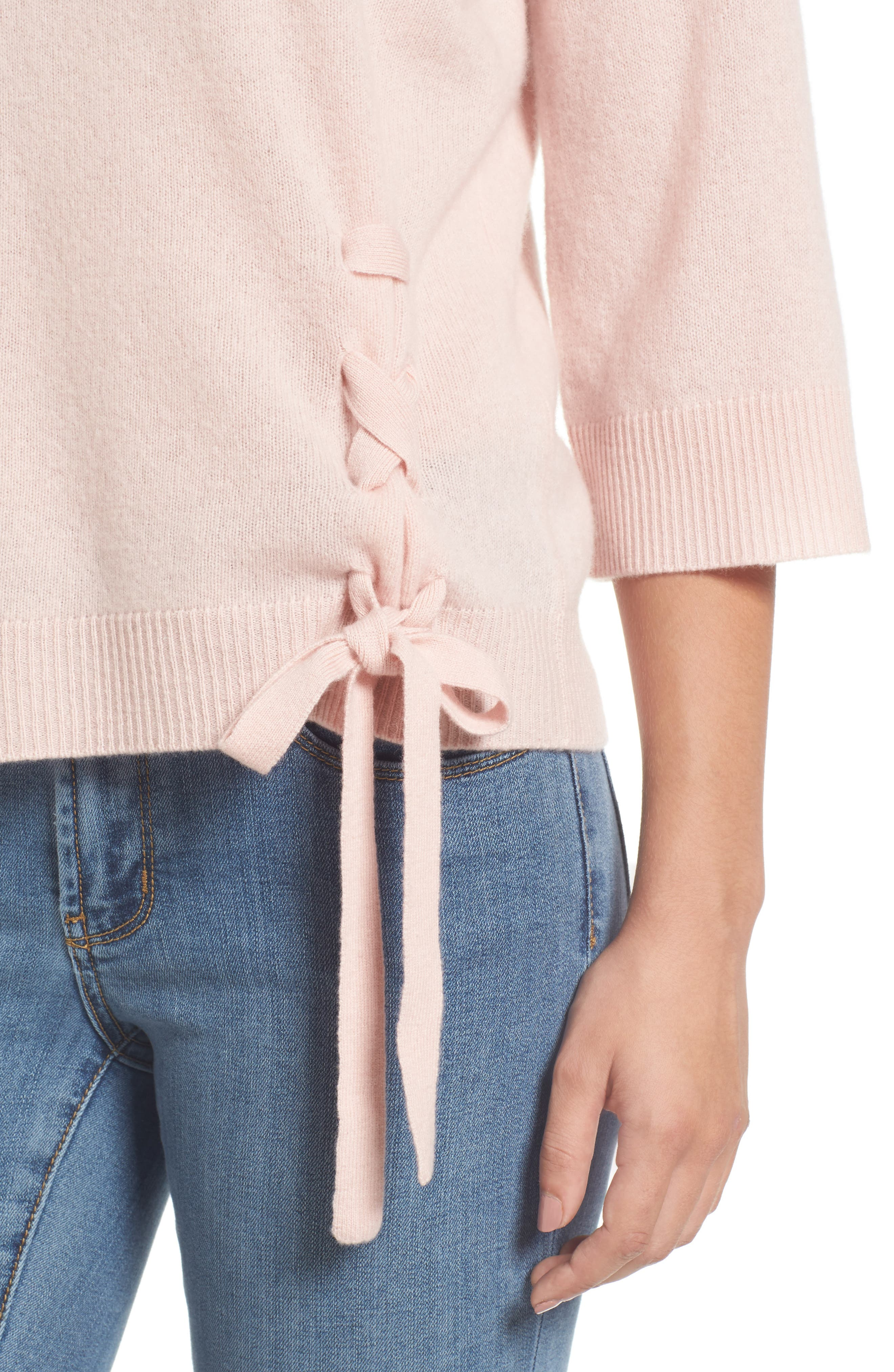 Side Tie Wool and Cashmere Sweater,                             Alternate thumbnail 4, color,                             Pink Smoke