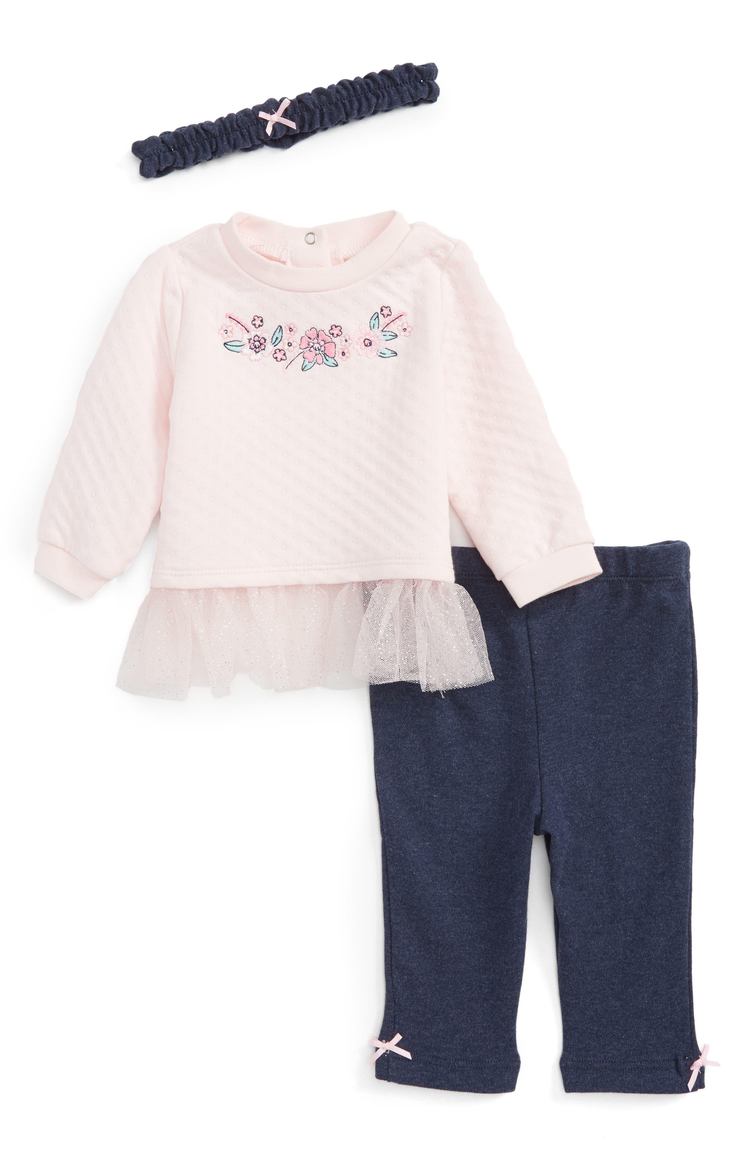Little Me Sweater, Leggings & Headband Set (Baby Girls)