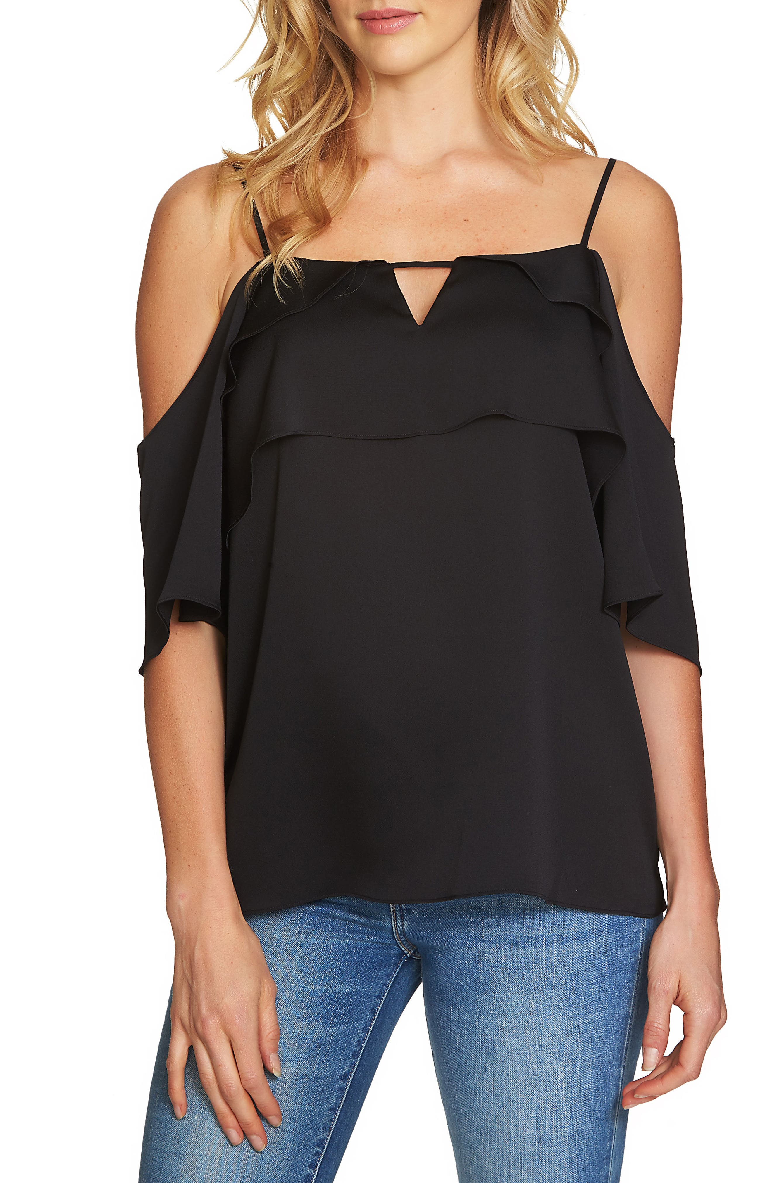 Tiered Cold Shoulder Top,                             Main thumbnail 1, color,                             Rich Black
