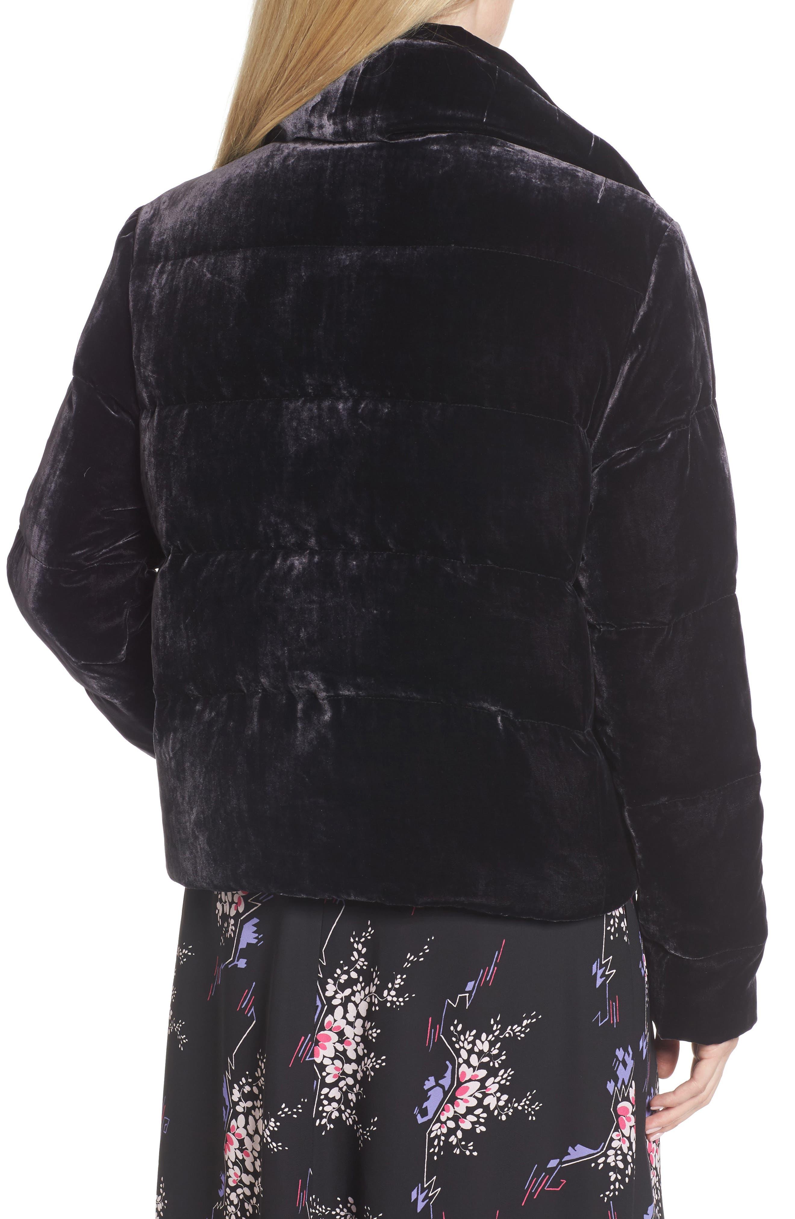 Velvet Puffer Jacket,                             Alternate thumbnail 2, color,                             Purple Night