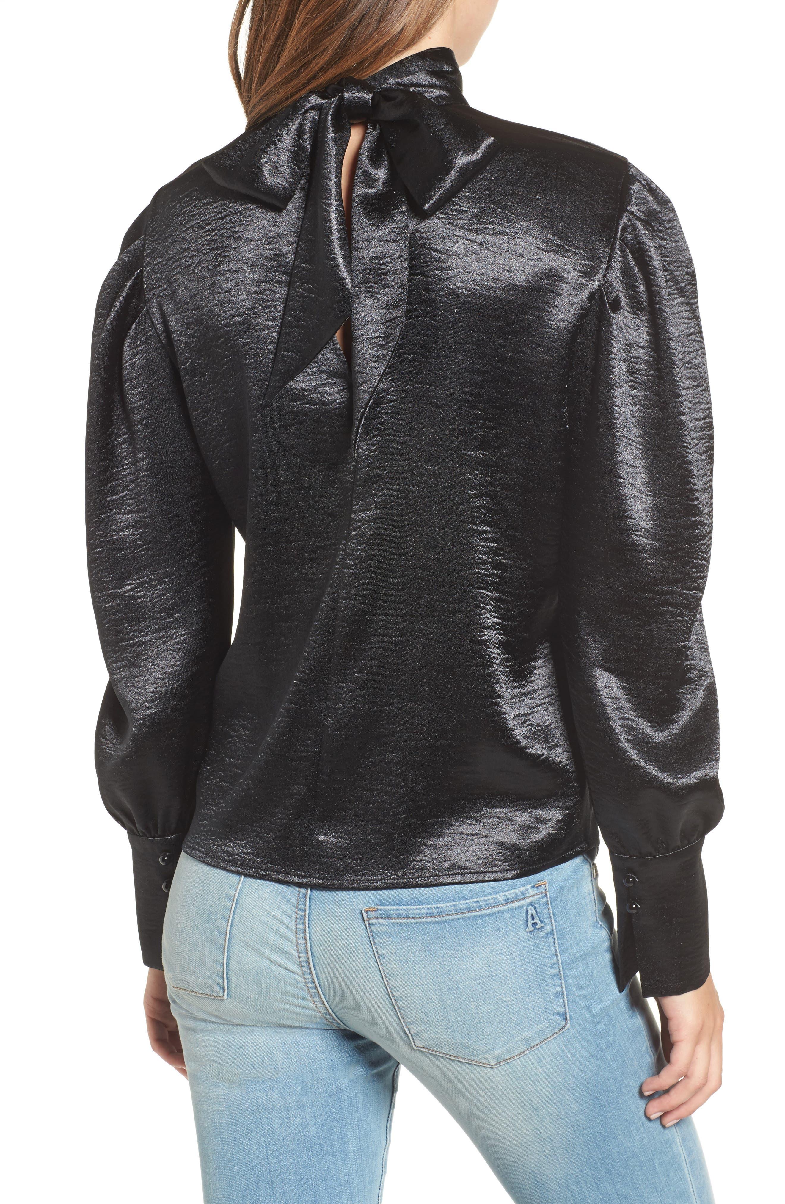 Bloused Sleeve Top,                             Alternate thumbnail 2, color,                             Black