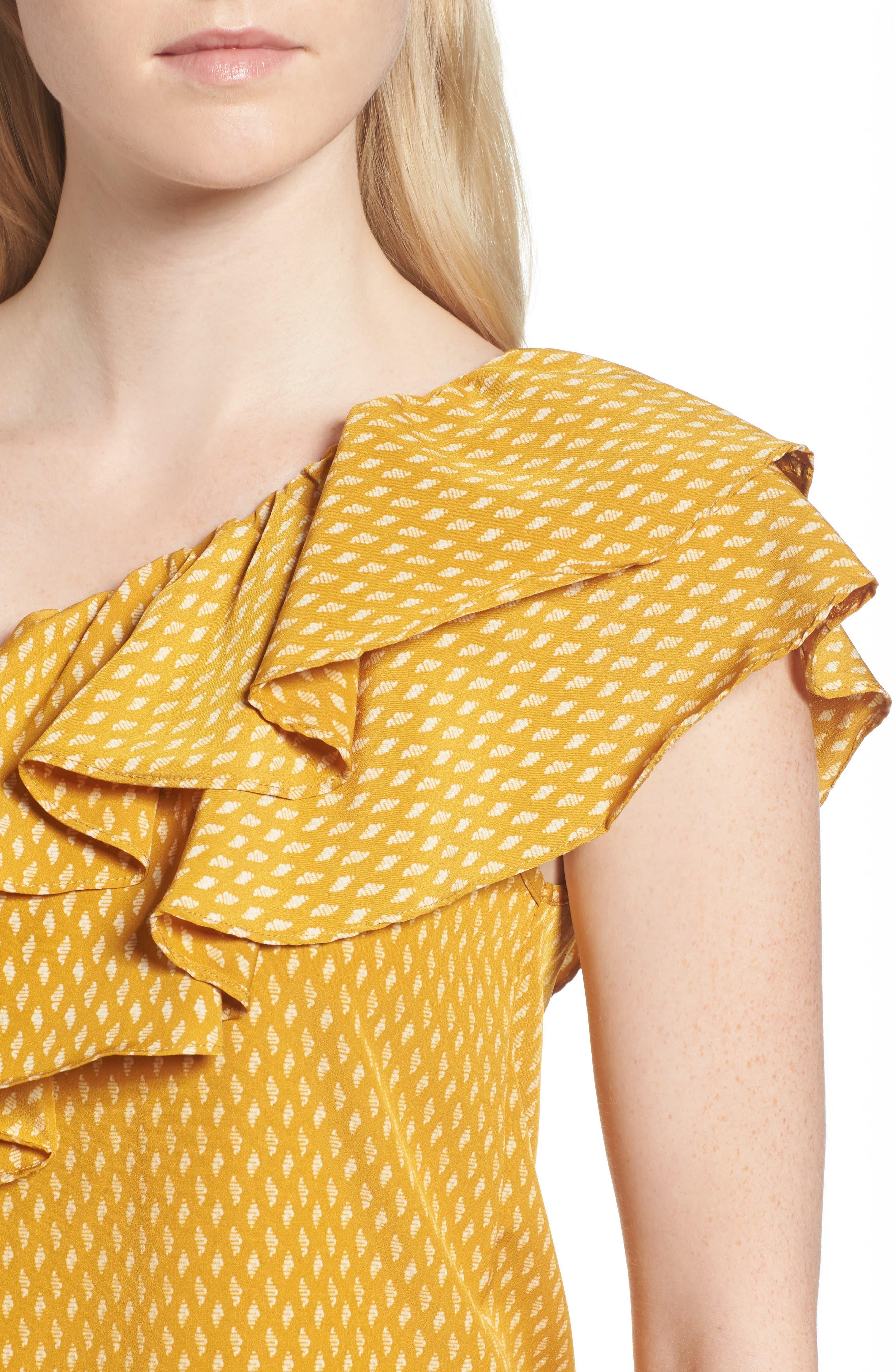 Alternate Image 4  - MISA Los Angeles Klea Ruffle One-Shoulder Top