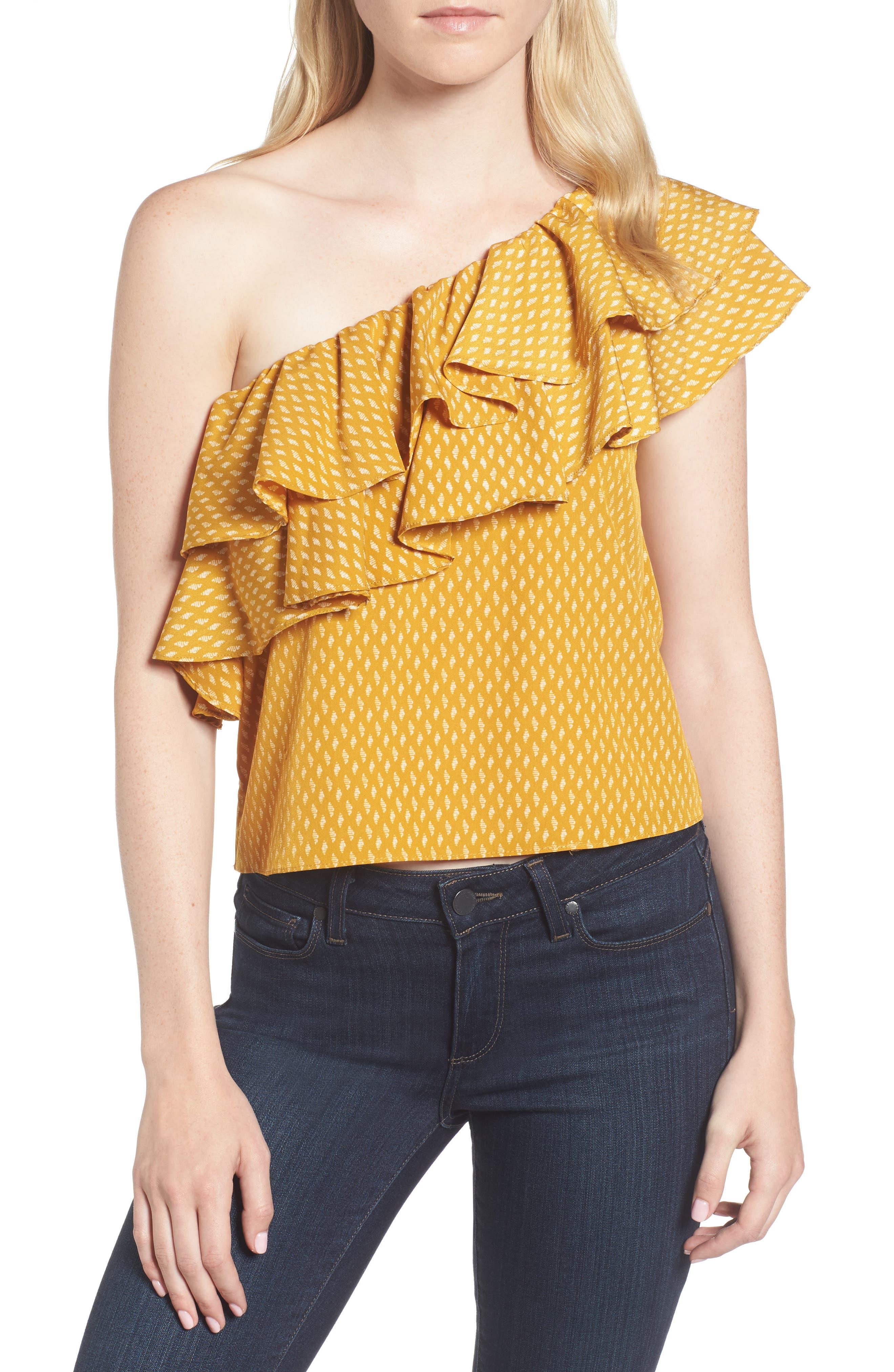 Klea Ruffle One-Shoulder Top,                         Main,                         color, Marigold/ Ivory