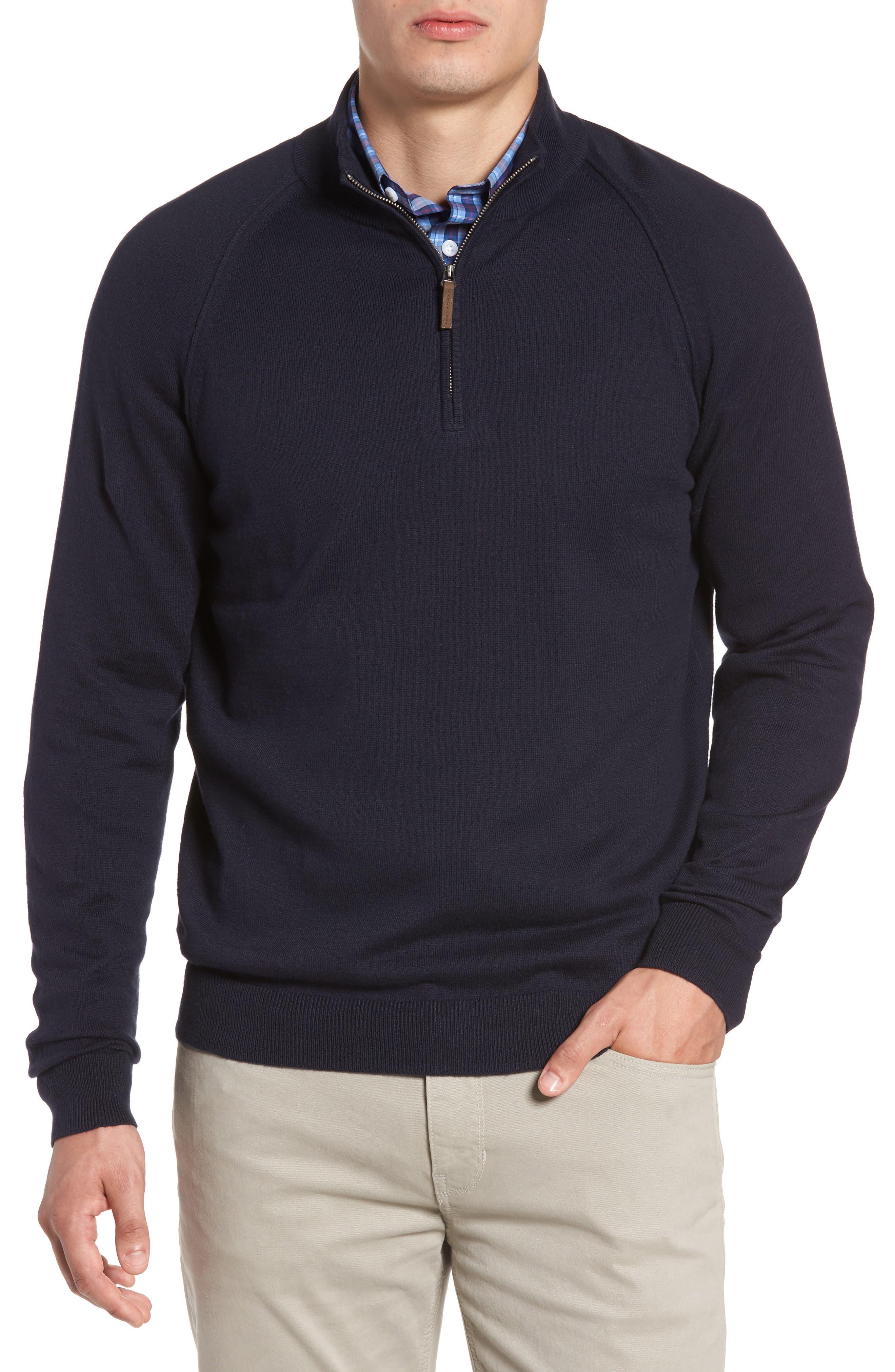 Alternate Image 1 Selected - Nordstrom Men's Shop Saddle Shoulder Quarter Zip Cotton & Cashmere Pullover