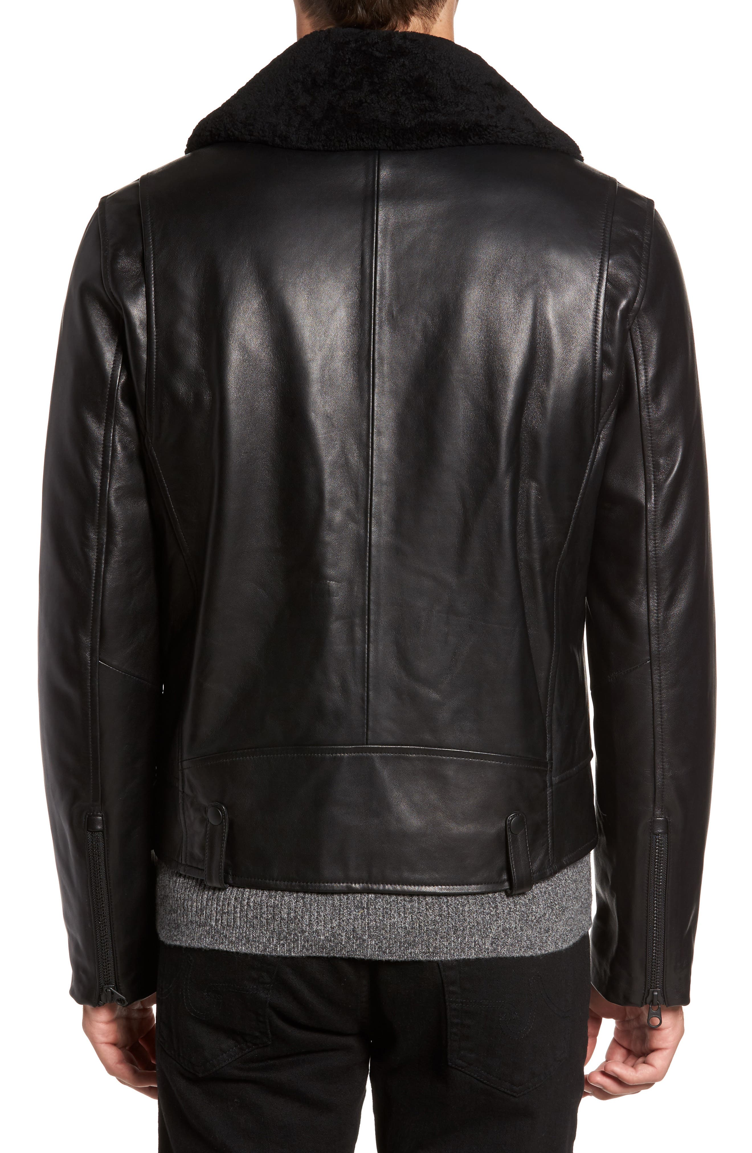 Lambskin Leather Down Jacket with Genuine Shearling Collar,                             Alternate thumbnail 2, color,                             Black