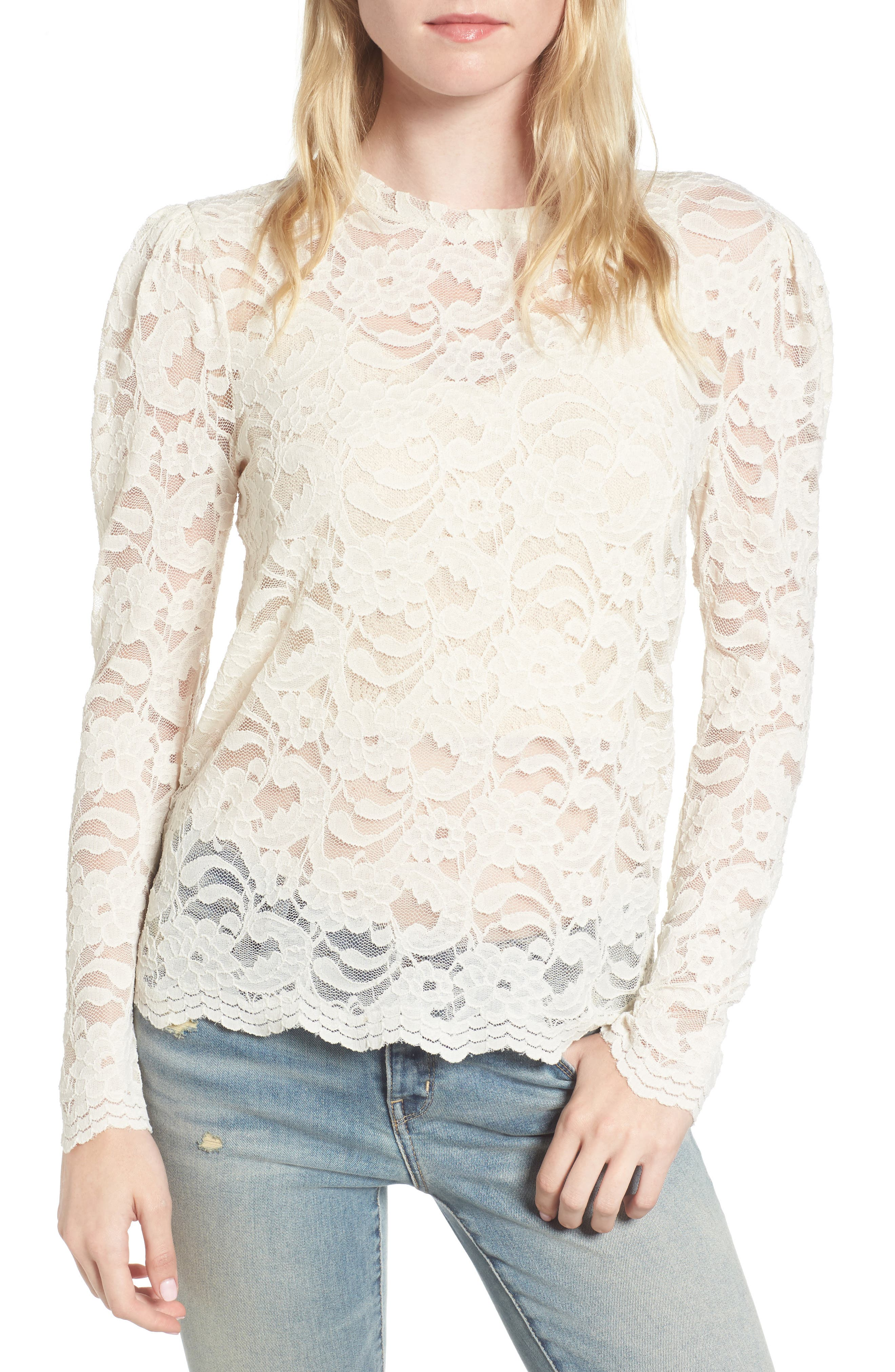 Lace Top,                         Main,                         color, Ivory Birch