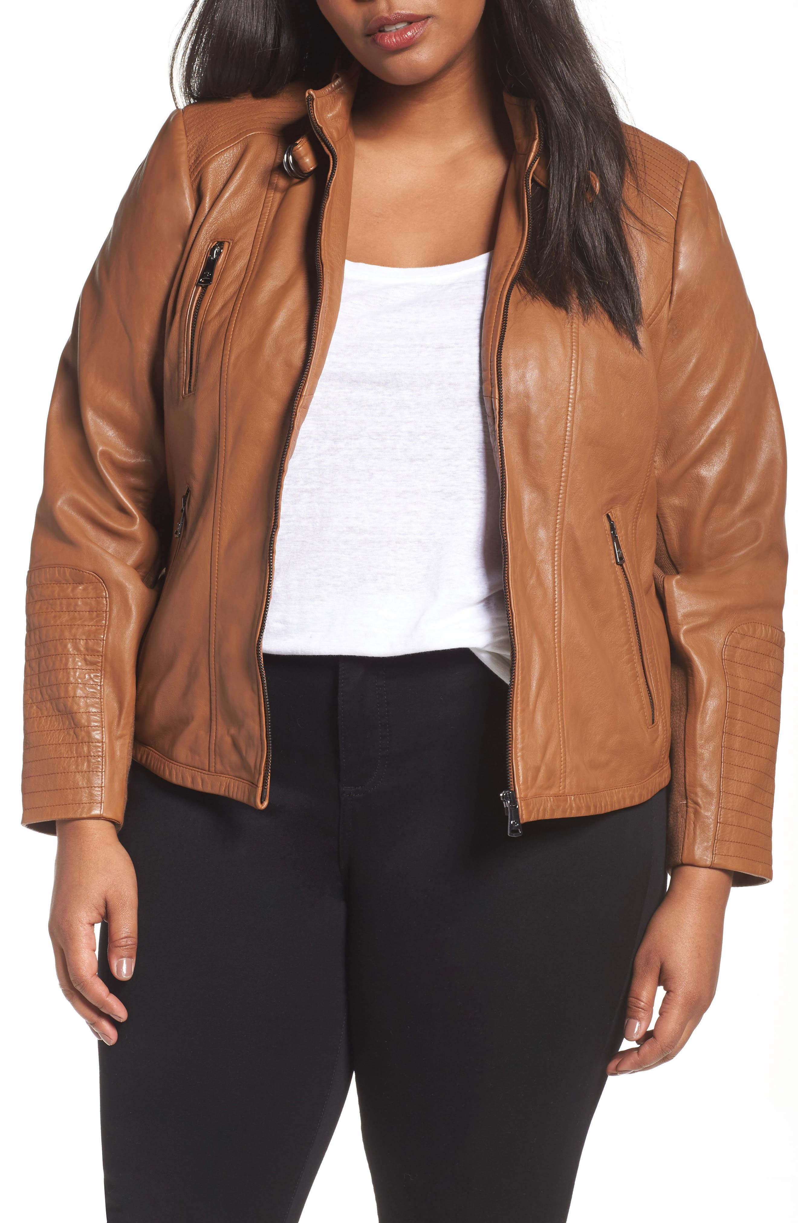 Bernardo Leather Moto Jacket (Plus Size)