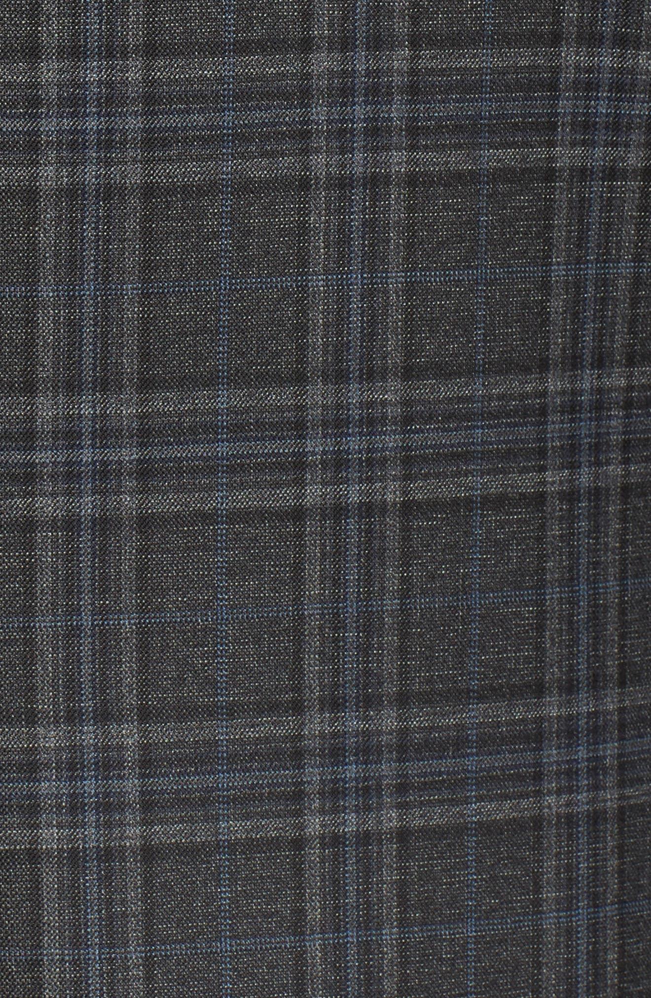 Classic B Fit Plaid Wool Sport Coat,                             Alternate thumbnail 5, color,                             Dark Grey