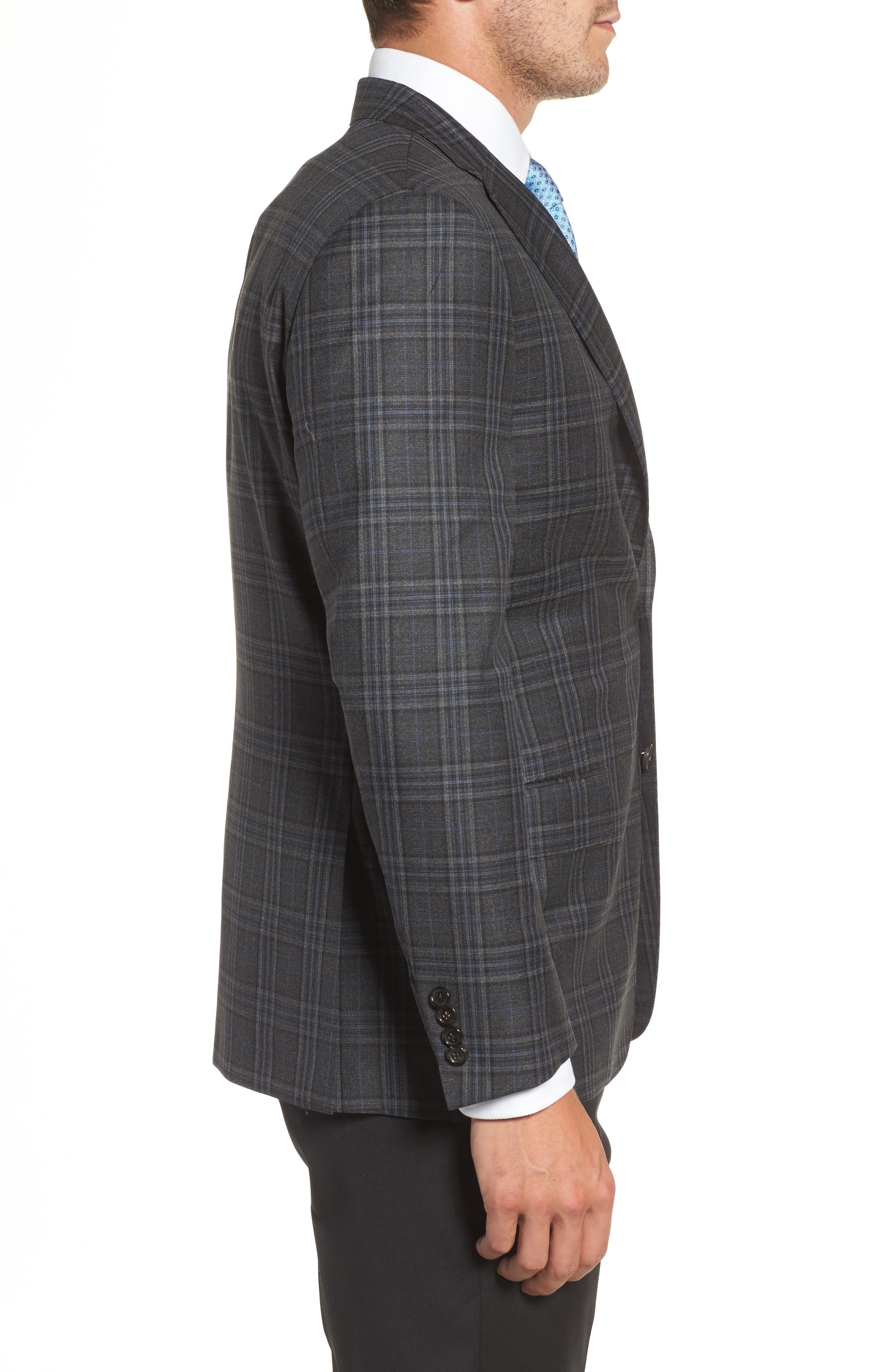 Classic B Fit Plaid Wool Sport Coat,                             Alternate thumbnail 3, color,                             Dark Grey