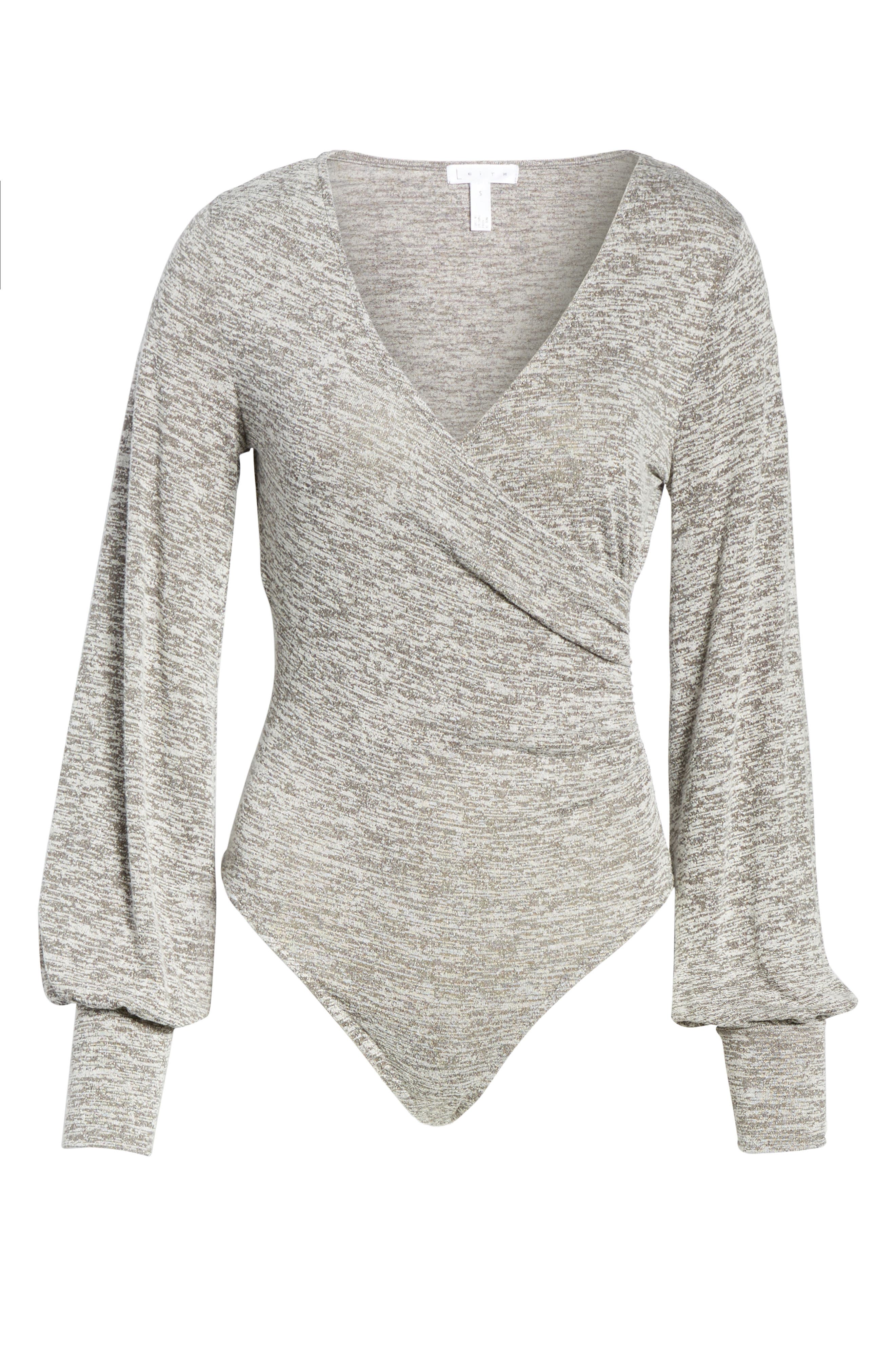Ruched Bodysuit,                             Alternate thumbnail 5, color,                             Grey Cloudy Heather