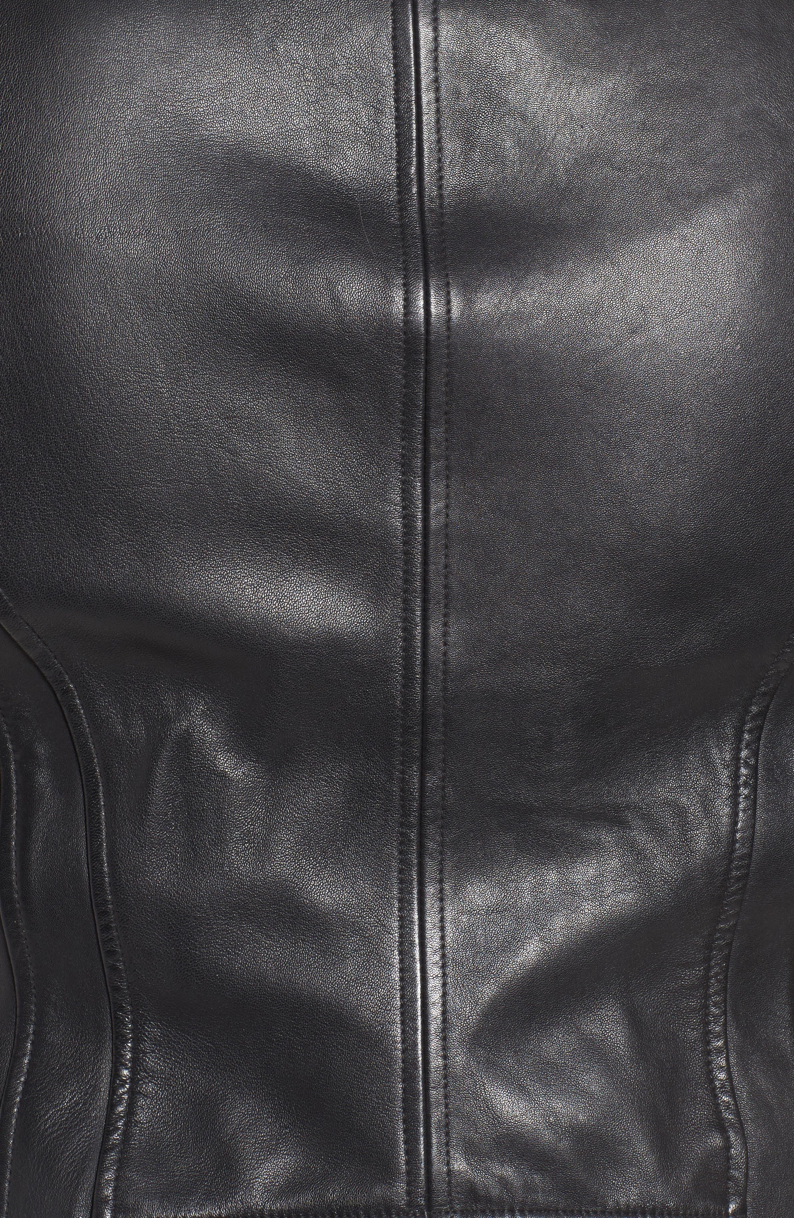 Alternate Image 5  - Bernardo Leather Moto Jacket (Plus Size)