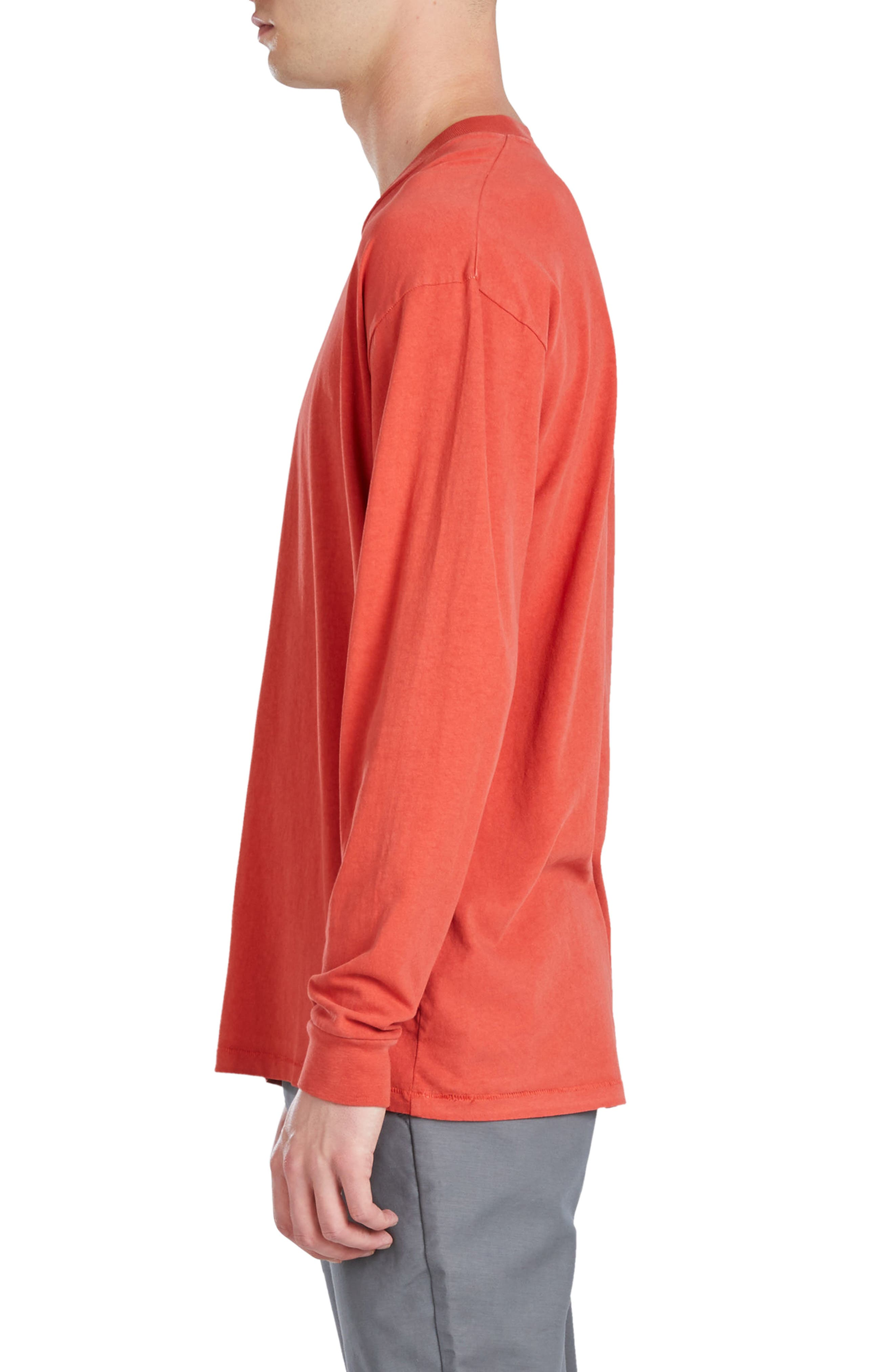 Boxy Long Sleeve T-Shirt,                             Alternate thumbnail 3, color,                             Vintage Red