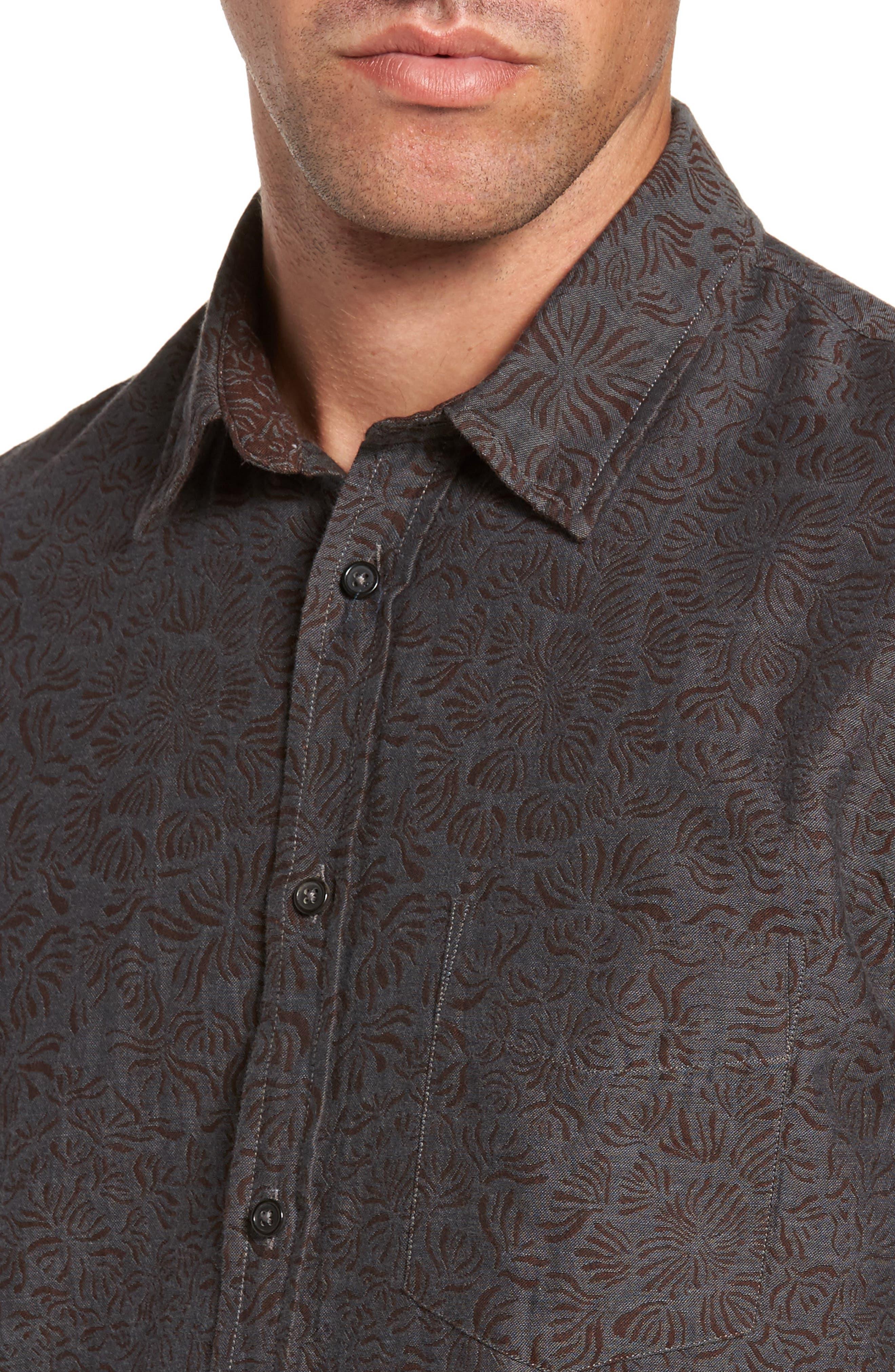 Kirby Slim Fit Jacquard Sport Shirt,                             Alternate thumbnail 4, color,                             Charcoal/ Burgundy