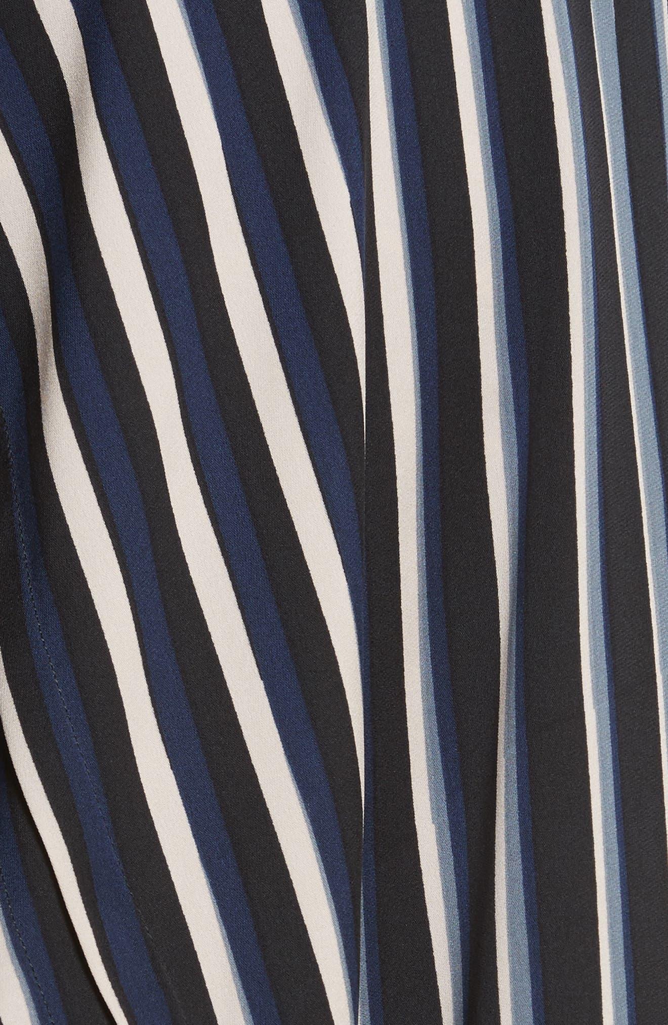 Striped Asymmetrical Midi Skirt,                             Alternate thumbnail 6, color,                             Whiston Black