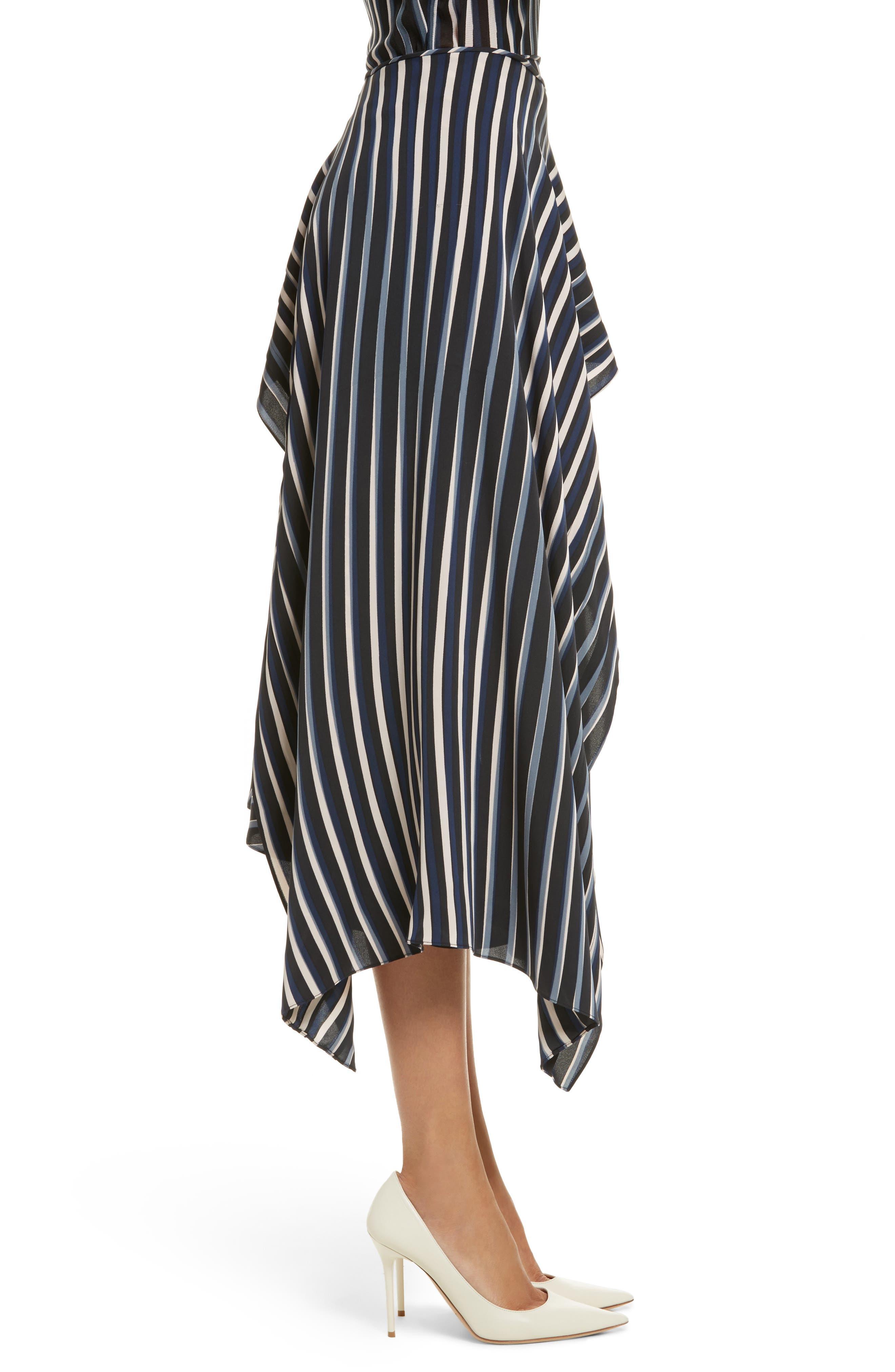 Striped Asymmetrical Midi Skirt,                             Alternate thumbnail 3, color,                             Whiston Black