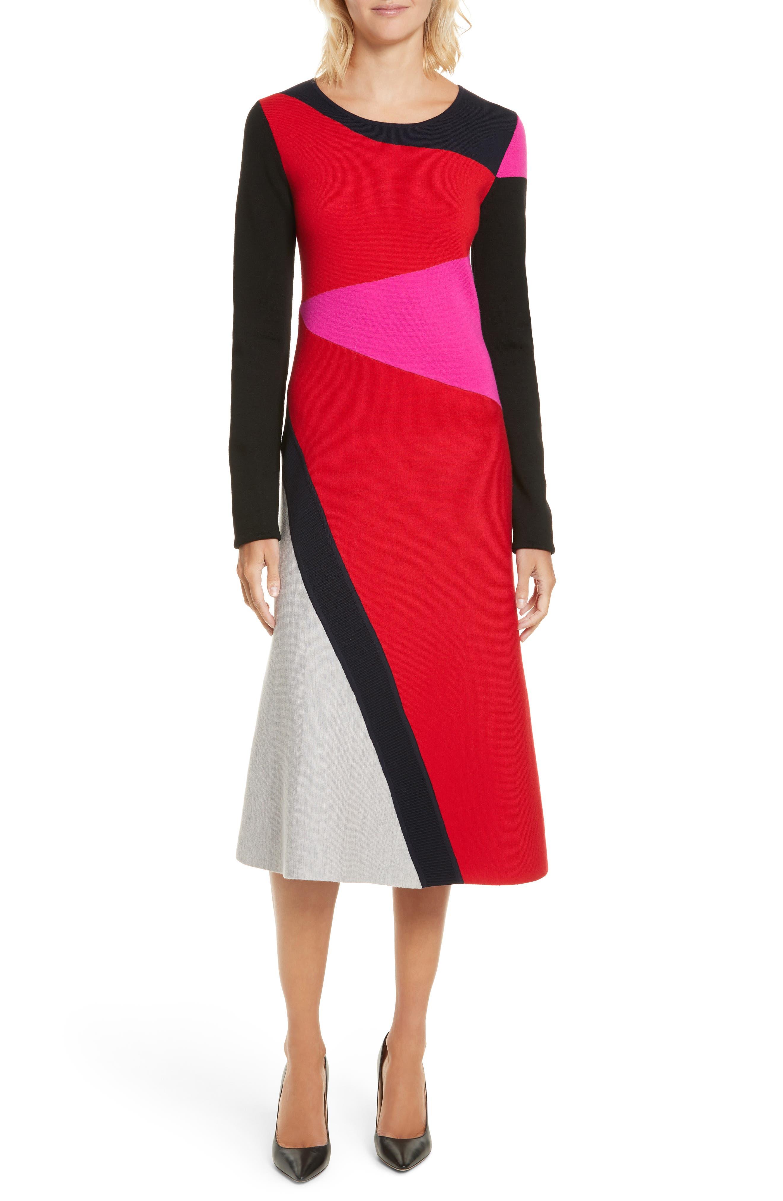 Colorblock Intarsia Dress,                             Main thumbnail 1, color,                             Lipstick Multi