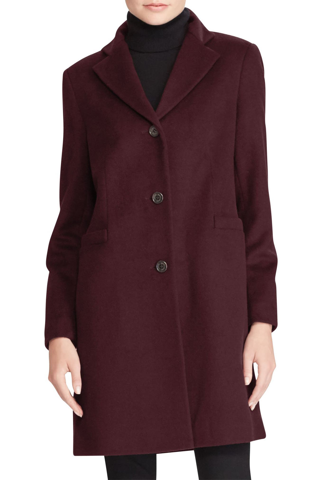 Alternate Image 1 Selected - Lauren Ralph Lauren Wool Blend Reefer Coat (Regular & Petite)