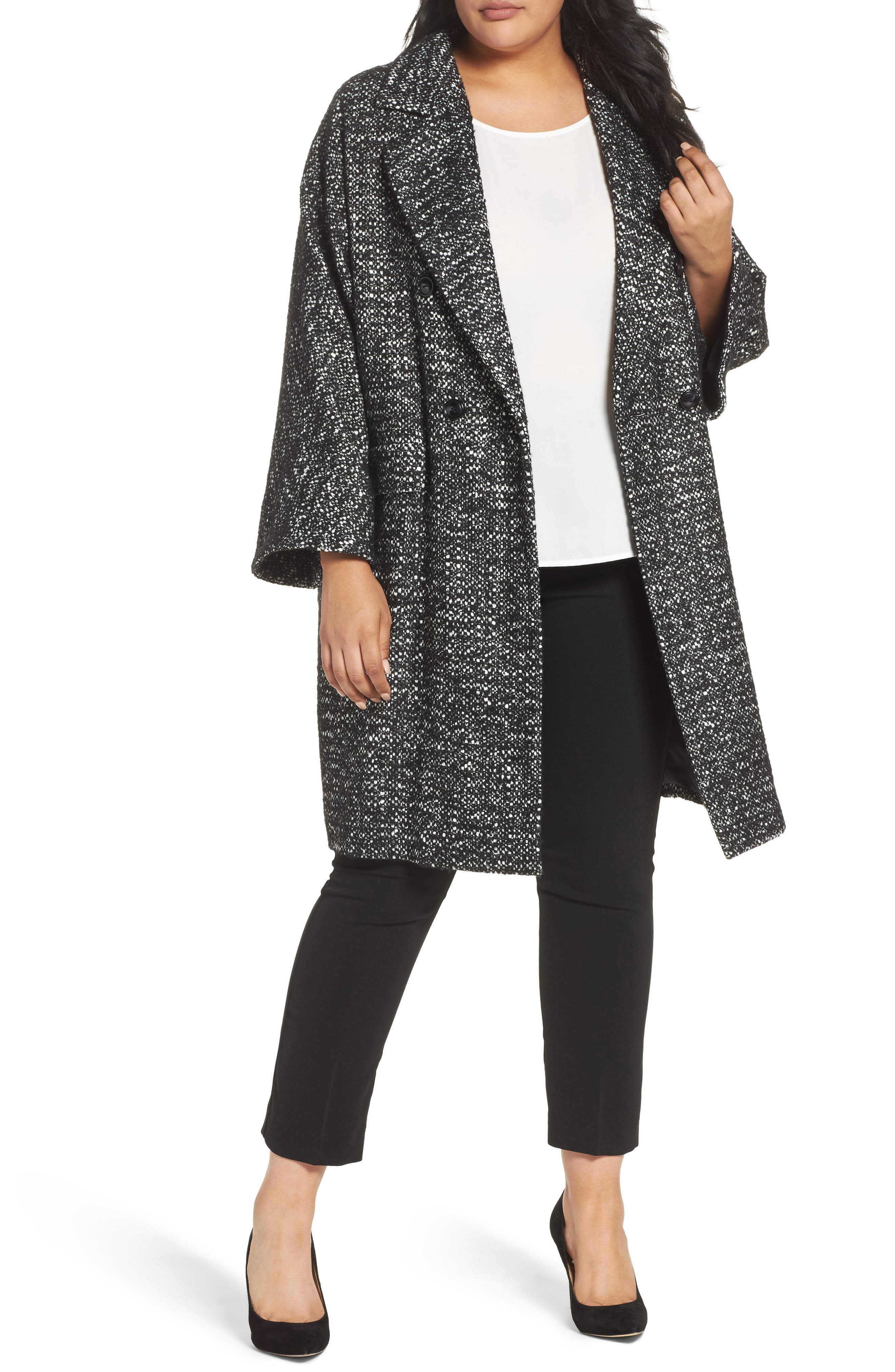 Tweed Car Coat,                             Main thumbnail 1, color,                             Black