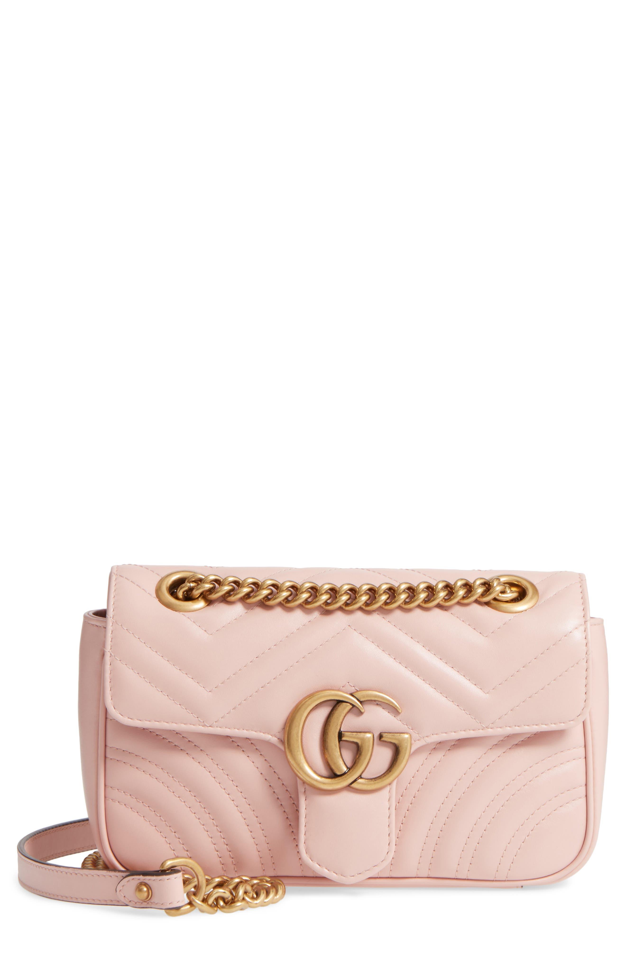 Mini GG Marmont 2.0 Matelassé Leather Shoulder Bag,                             Main thumbnail 1, color,                             Perfect Pink