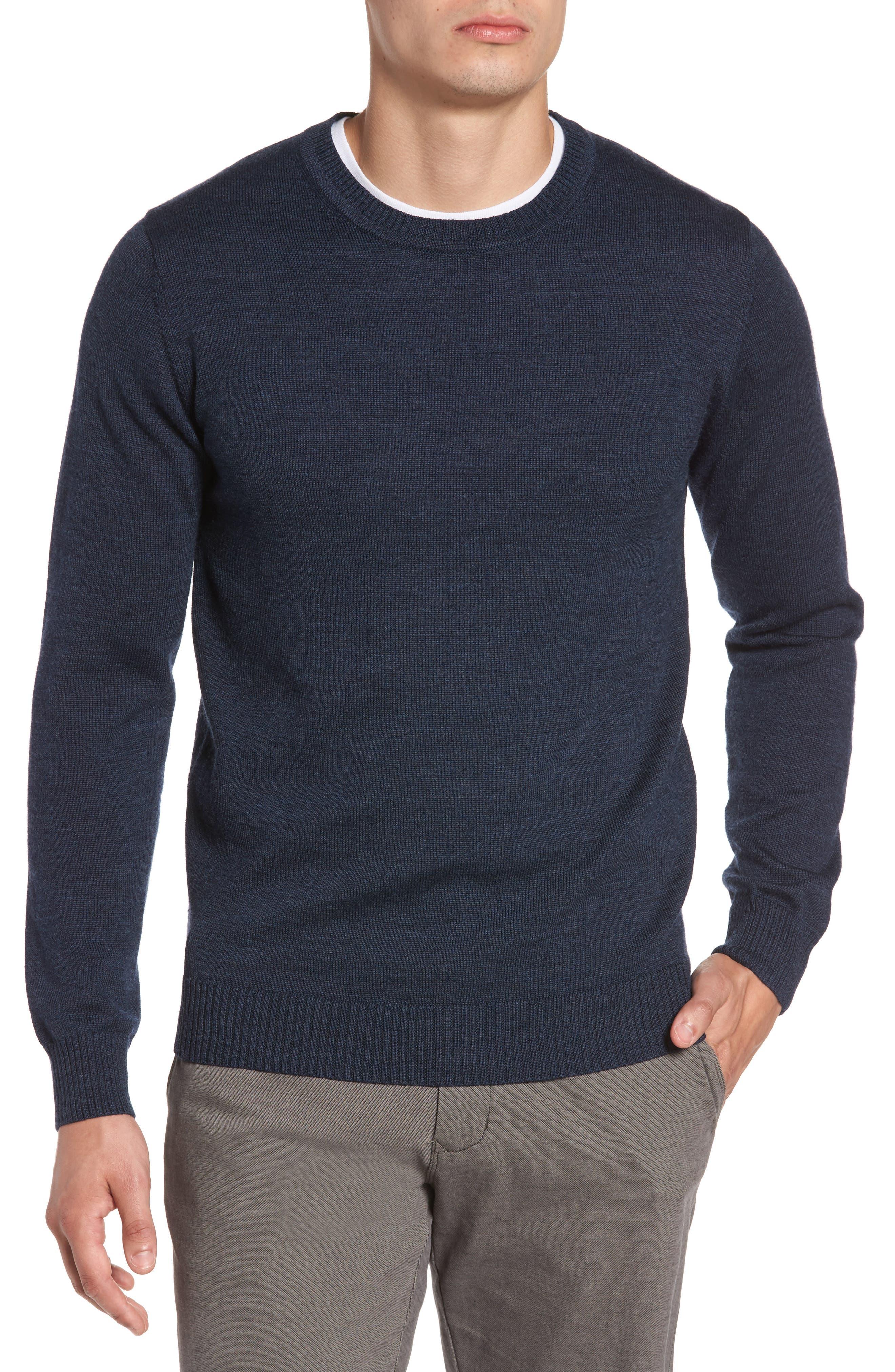 Bannockburn Mélange Merino Wool Sweater,                             Main thumbnail 1, color,                             Ink