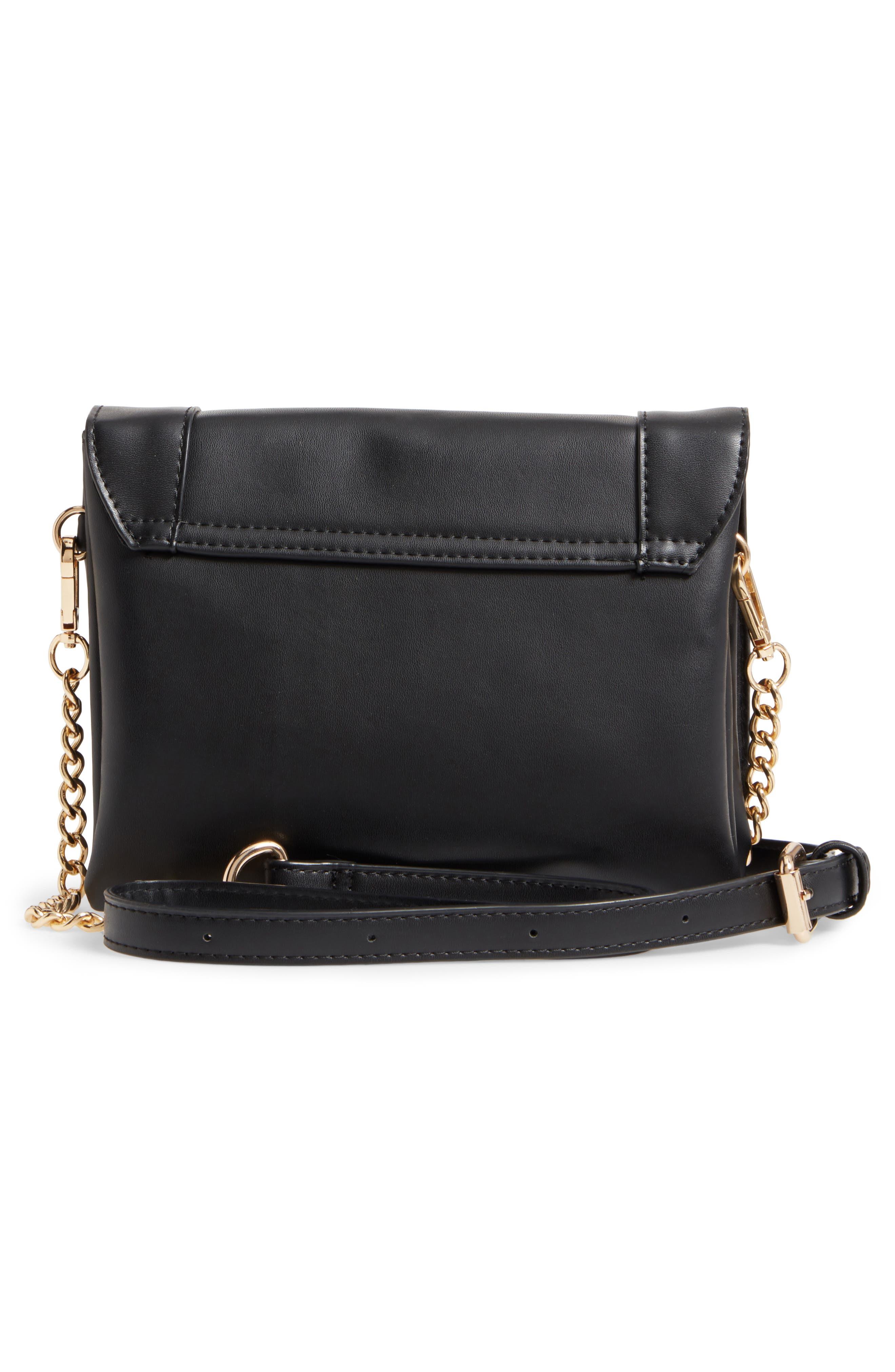 Studded Faux Leather Crossbody Bag,                             Alternate thumbnail 3, color,                             Black