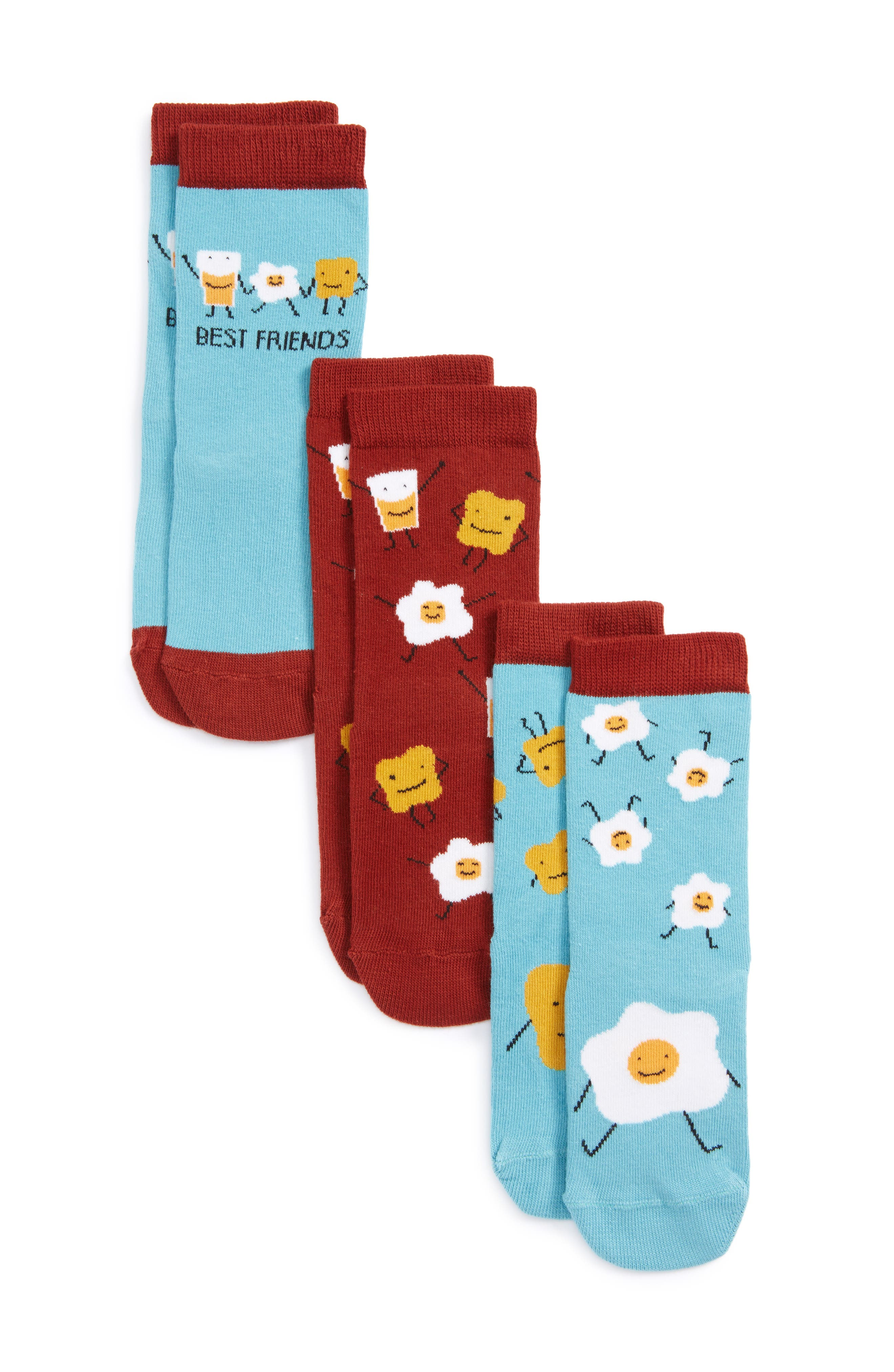 Sunny Side Up Assorted 3-Pack Crew Socks,                         Main,                         color, Red Ochre