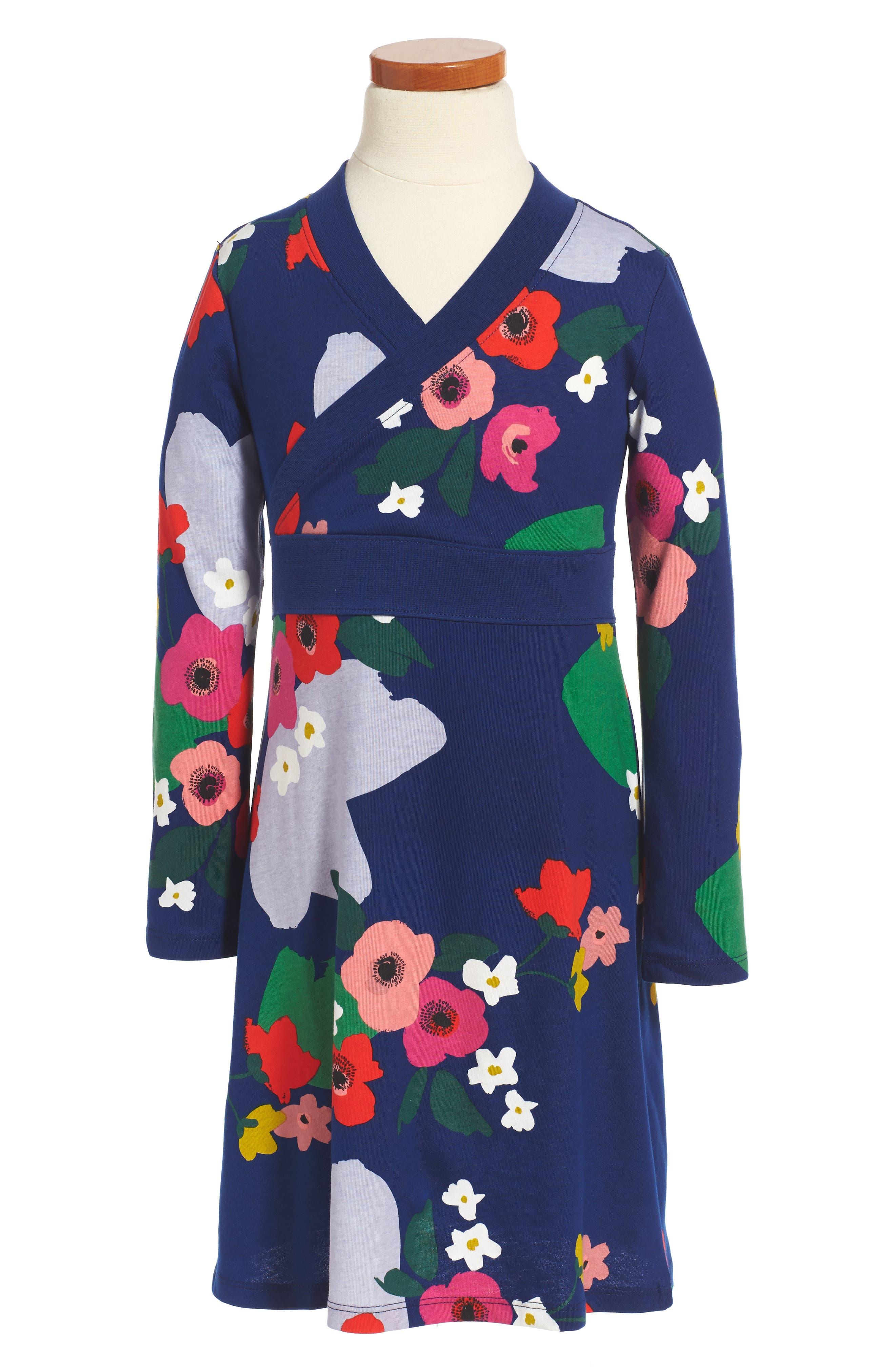 Main Image - Tea Collection Scotland Garden Wrap Neck Dress (Toddler Girls, Little Girls & Big Girls)