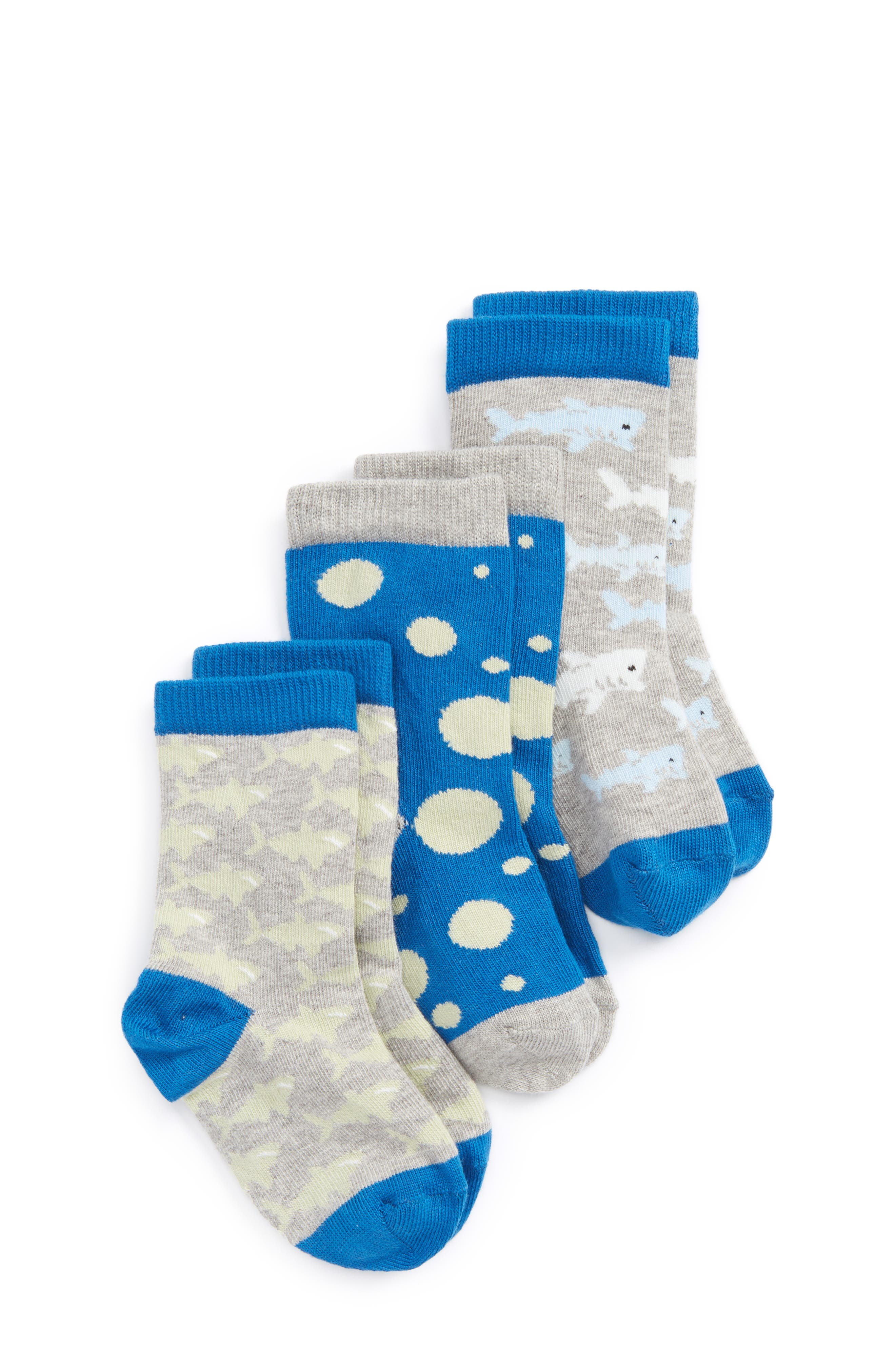 Critter Assorted 3-Pack Crew Socks,                             Main thumbnail 1, color,                             Blue Nautical