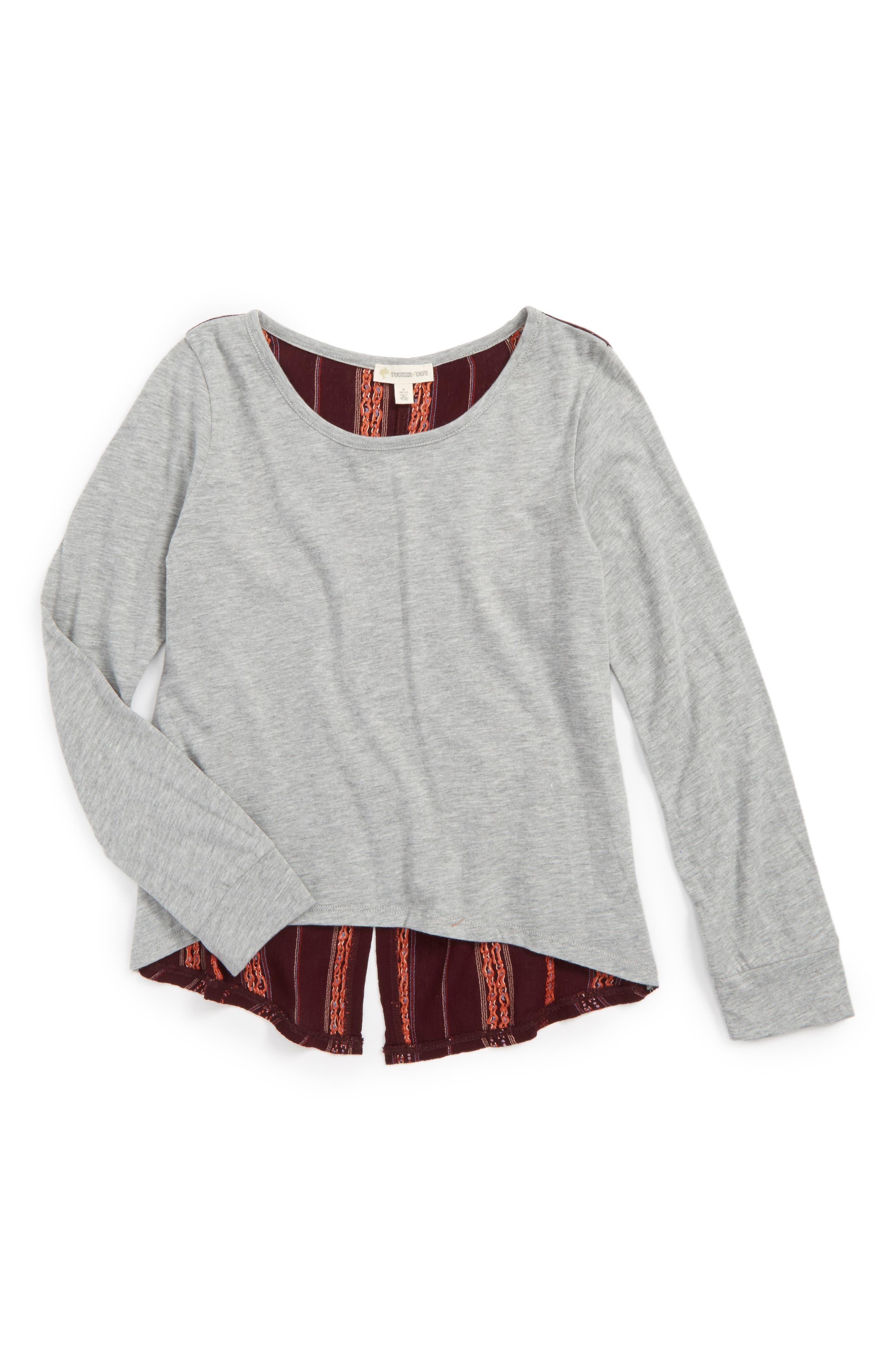 Embroidered Back Shirt,                         Main,                         color, Grey Medium Heather