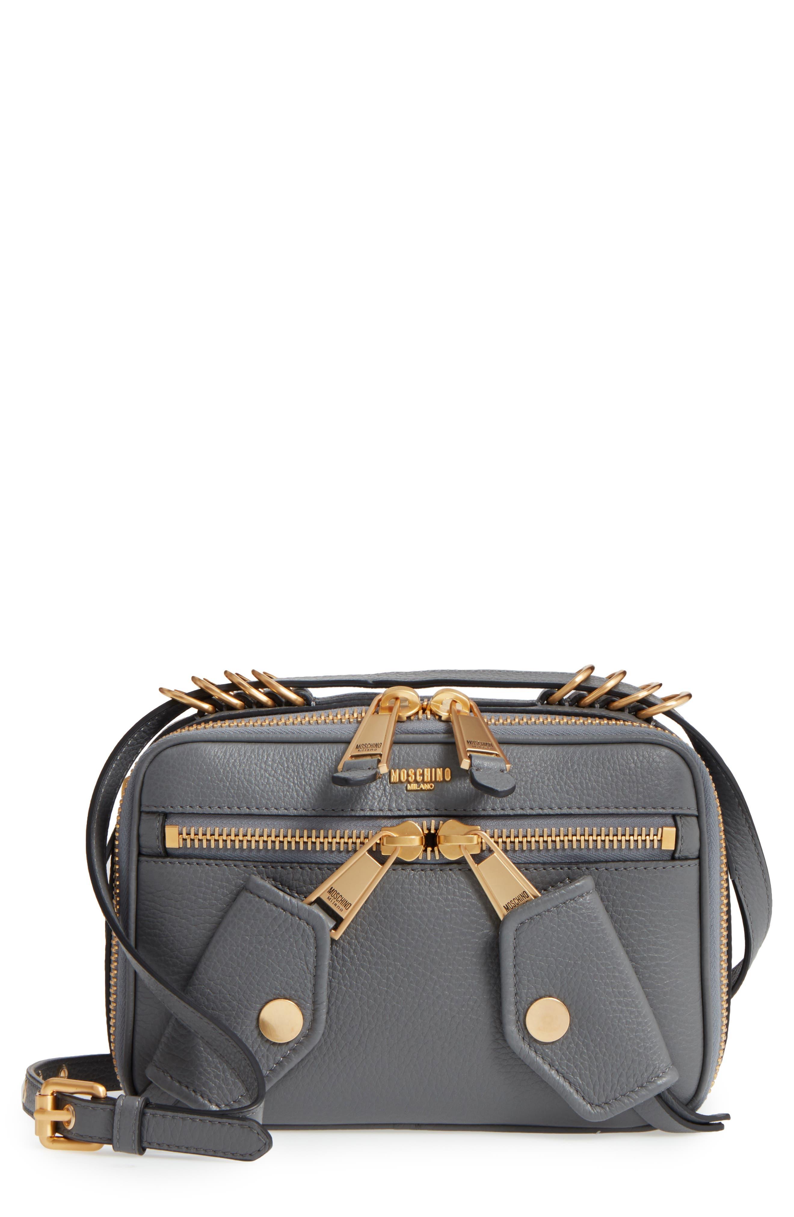 Moschino Grainy-B Leather Camera Bag