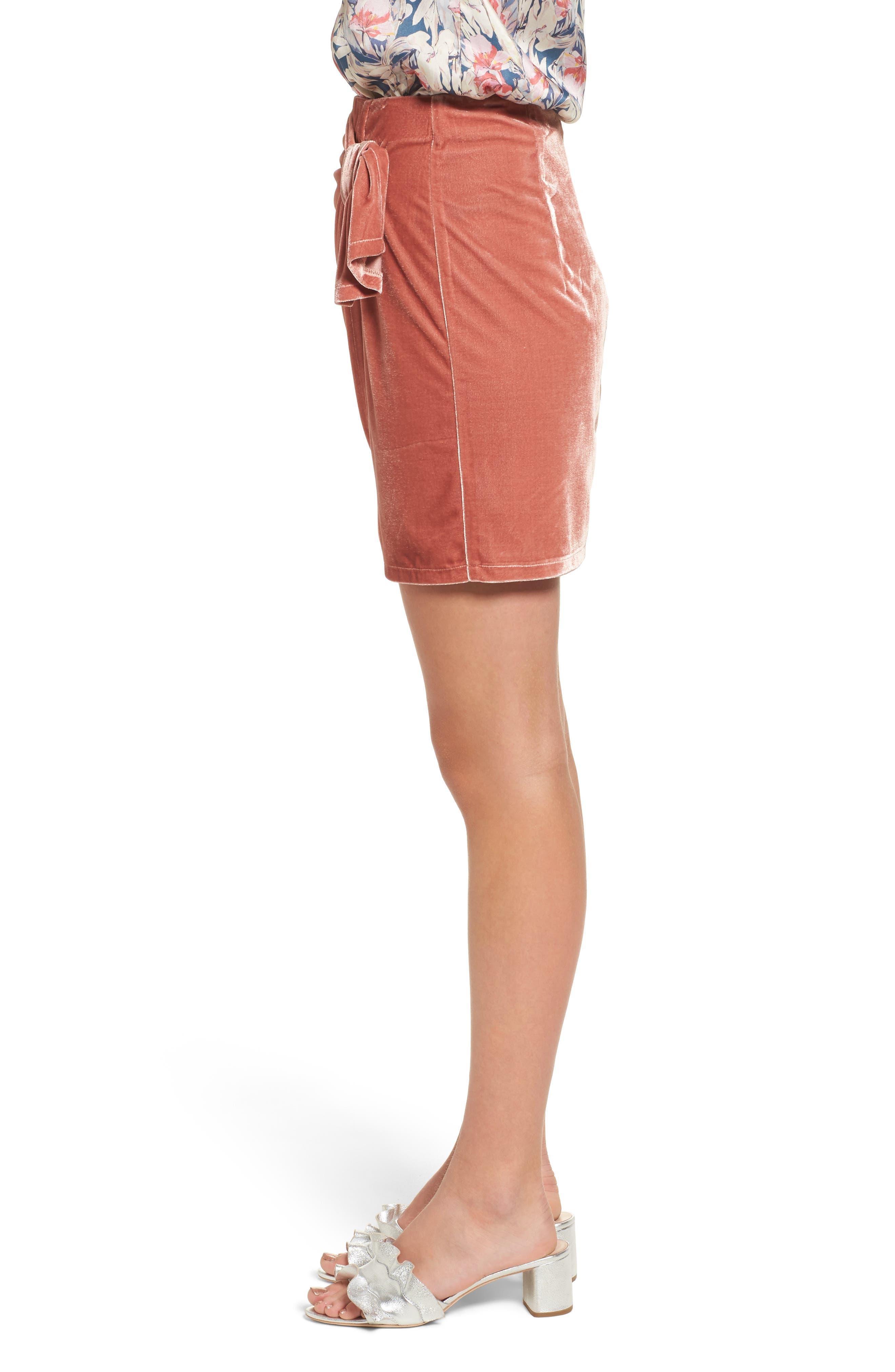 Katie Faux Wrap Skirt,                             Alternate thumbnail 3, color,                             Wild Rose