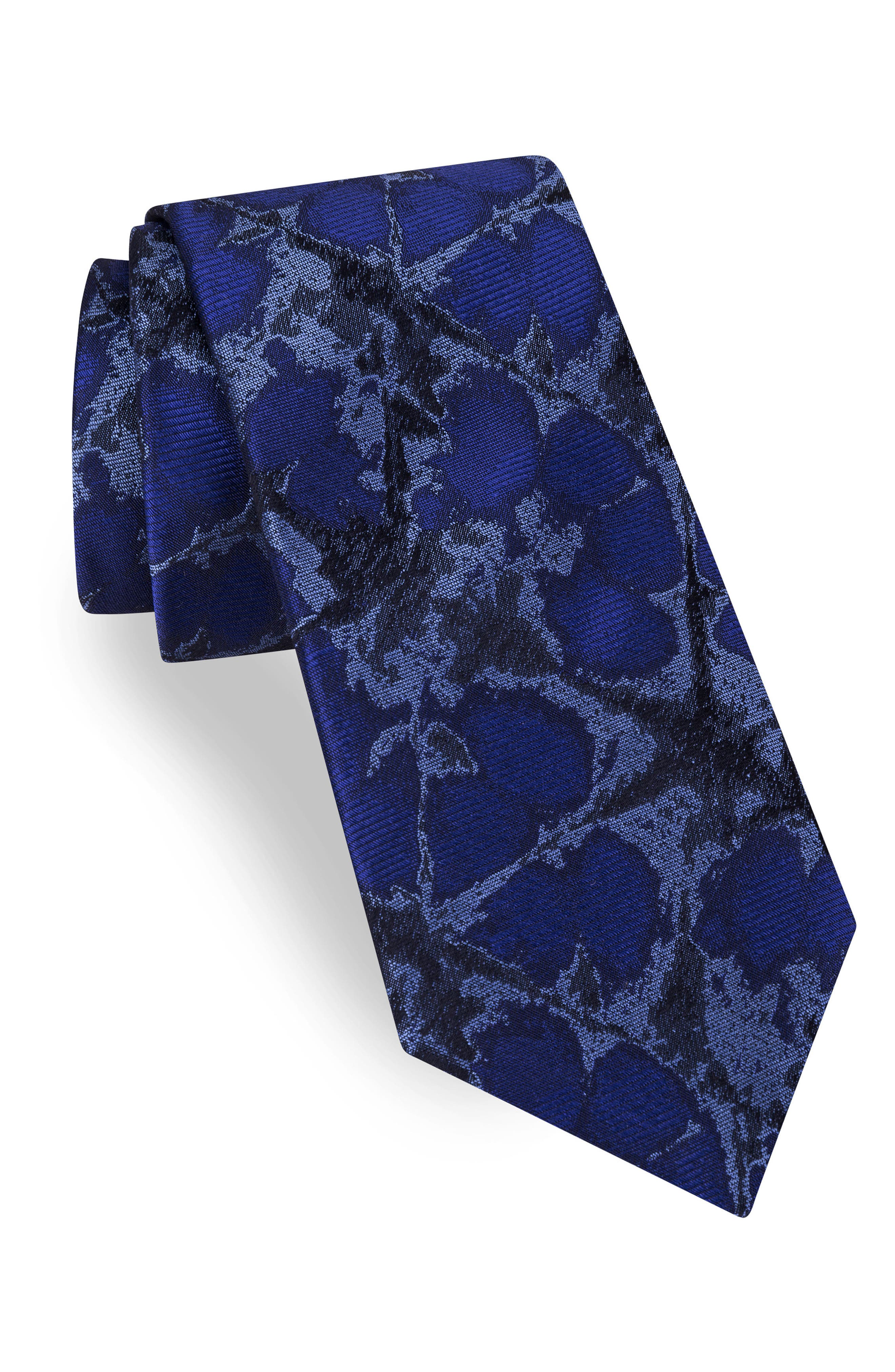Web Abstract Wool Tie,                         Main,                         color, Cobalt