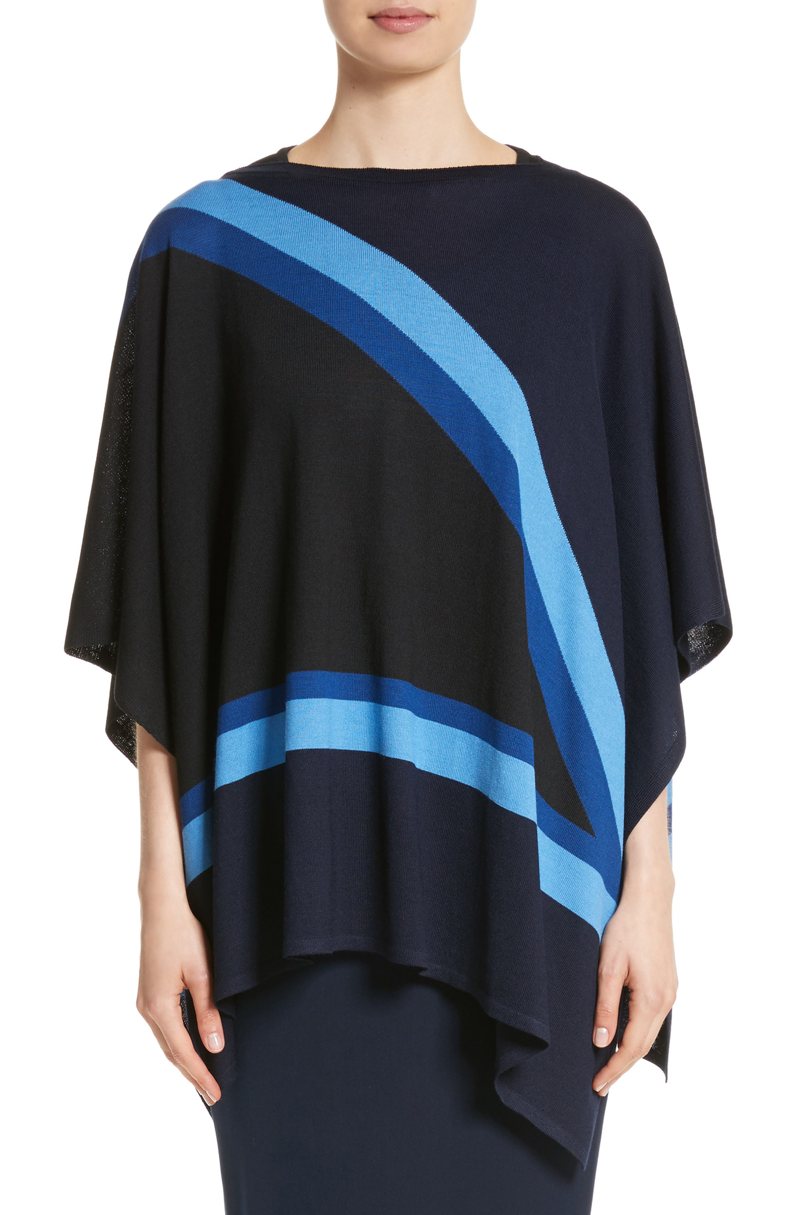 Intarsia Knit Jersey Poncho,                         Main,                         color, Navy Multi