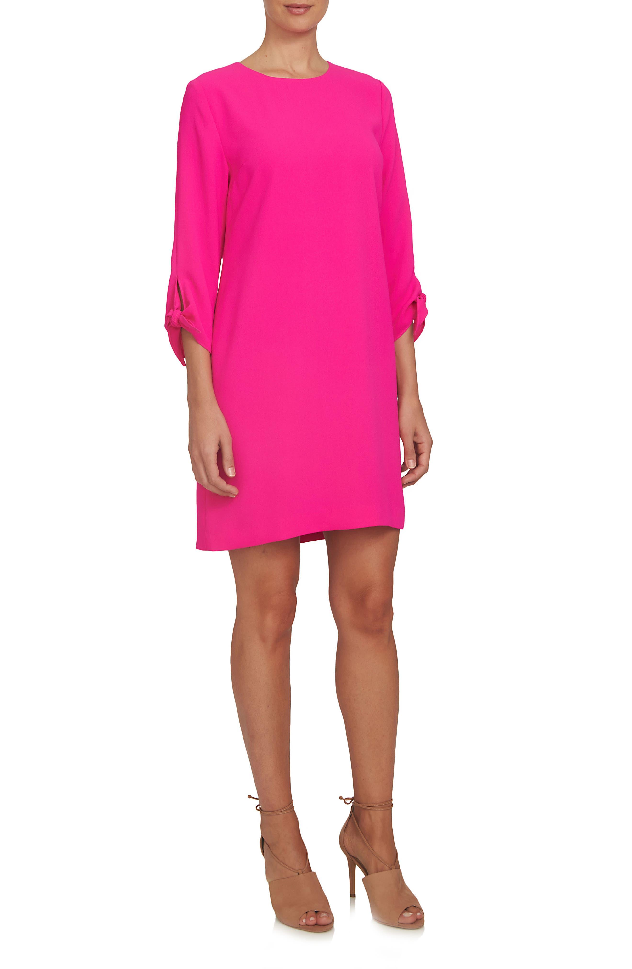 Tie Sleeve Shift Dress,                         Main,                         color, Hot Magenta