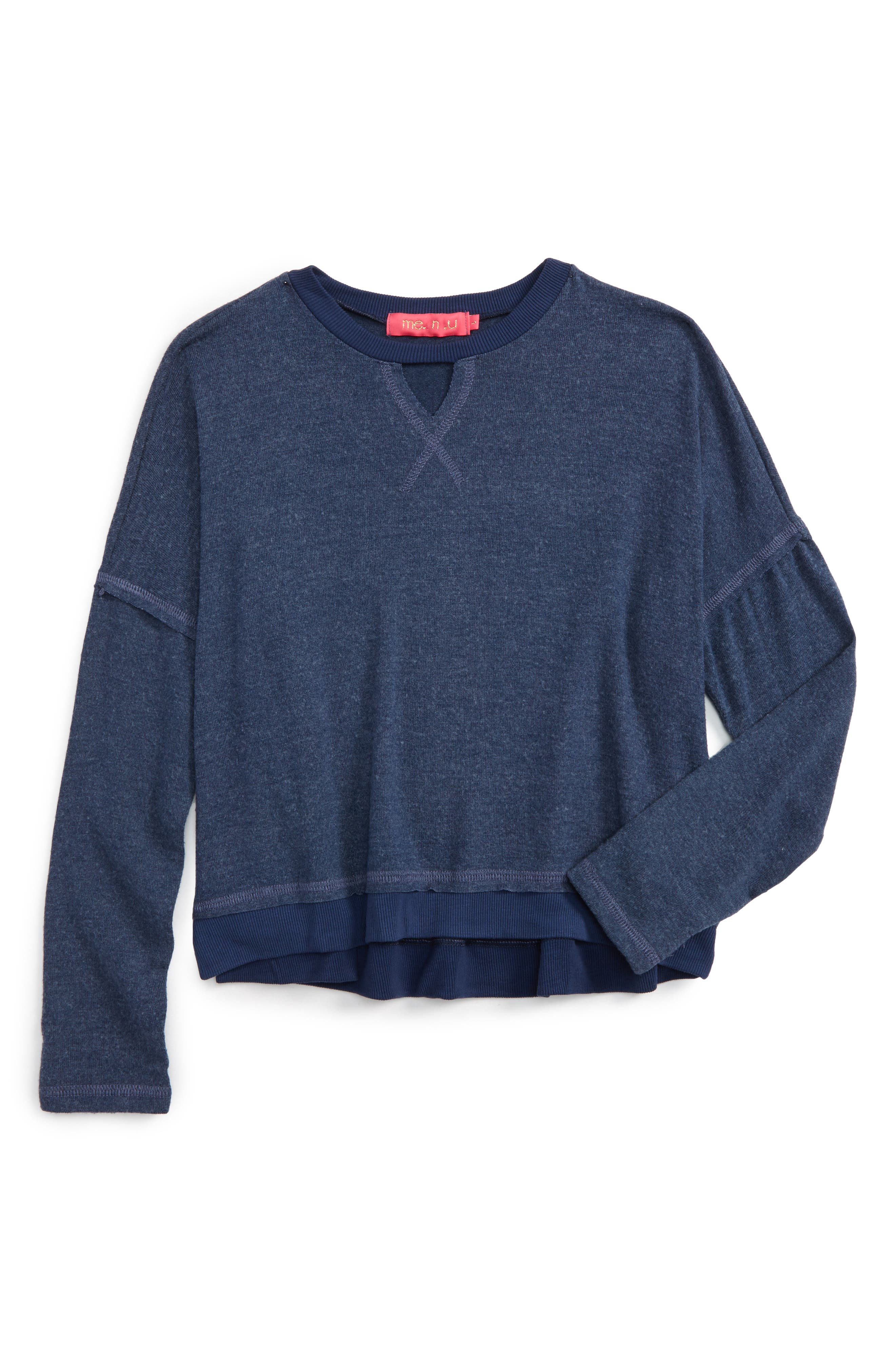 Alternate Image 1 Selected - me.n.u Gigi Cutout Sweatshirt (Big Girls)