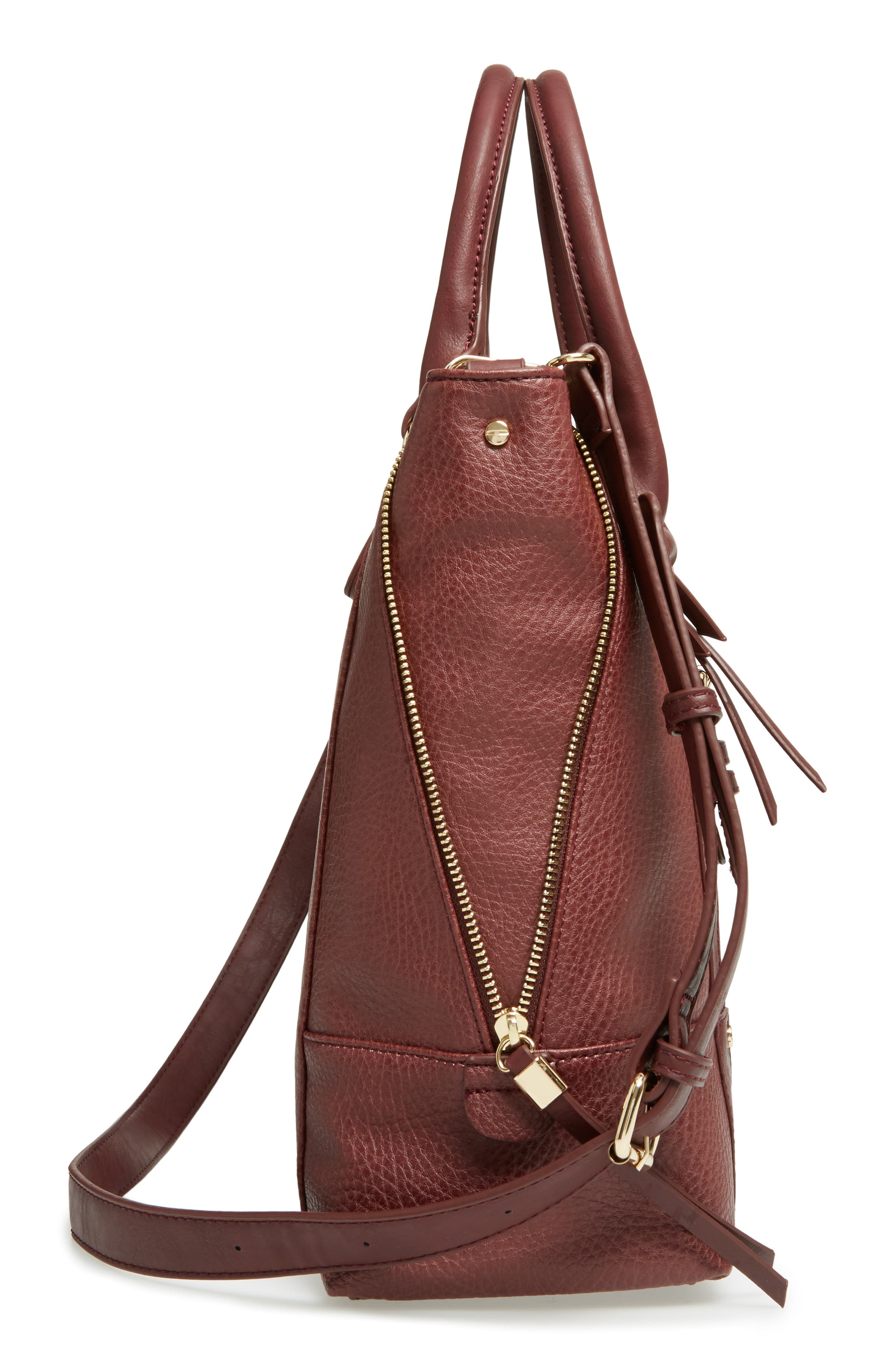 'Susan' Winged Faux Leather Tote,                             Alternate thumbnail 5, color,                             Oxblood