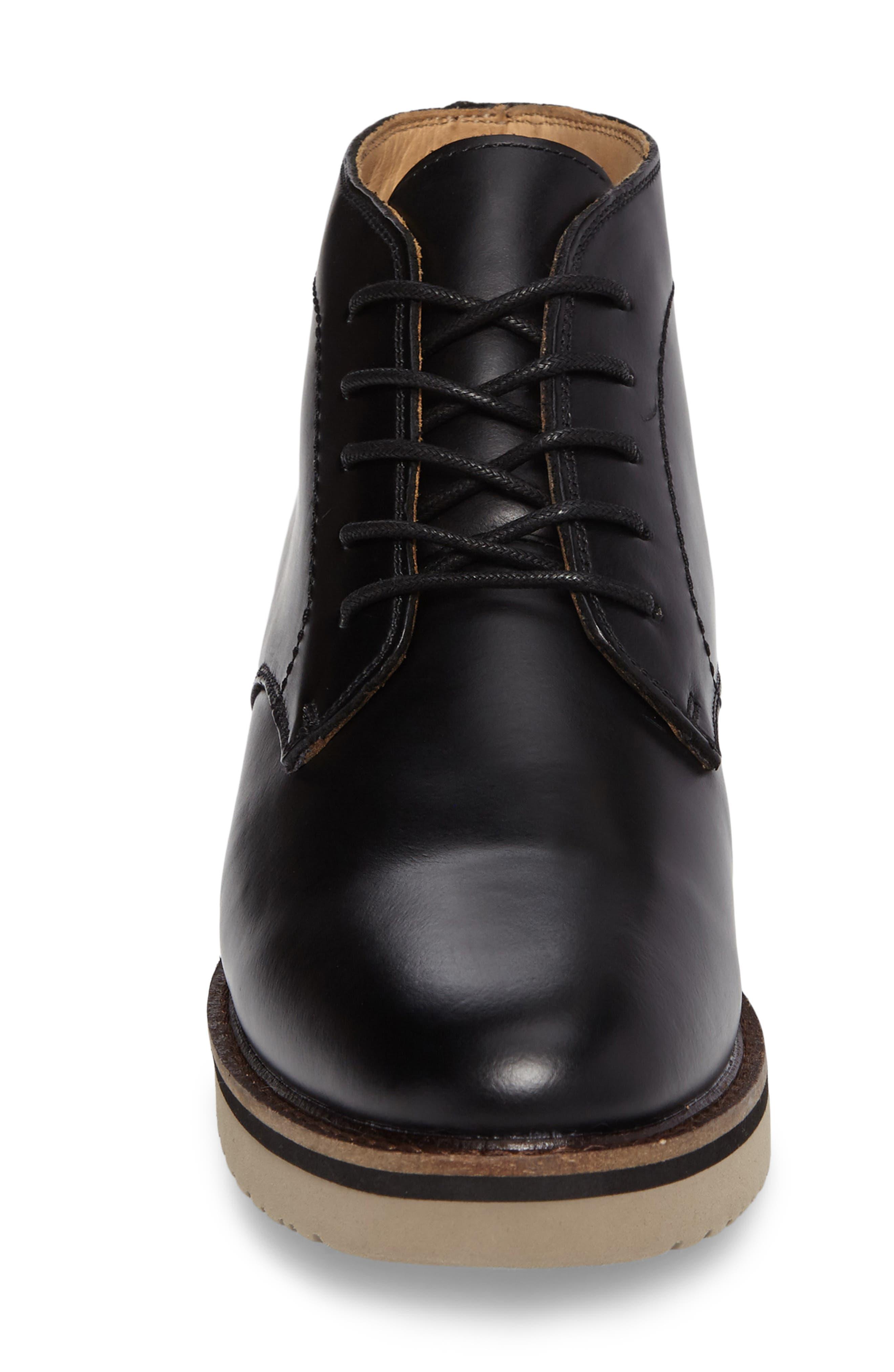 'Farley' Chukka Boot,                             Alternate thumbnail 4, color,                             Black/ Black Leather
